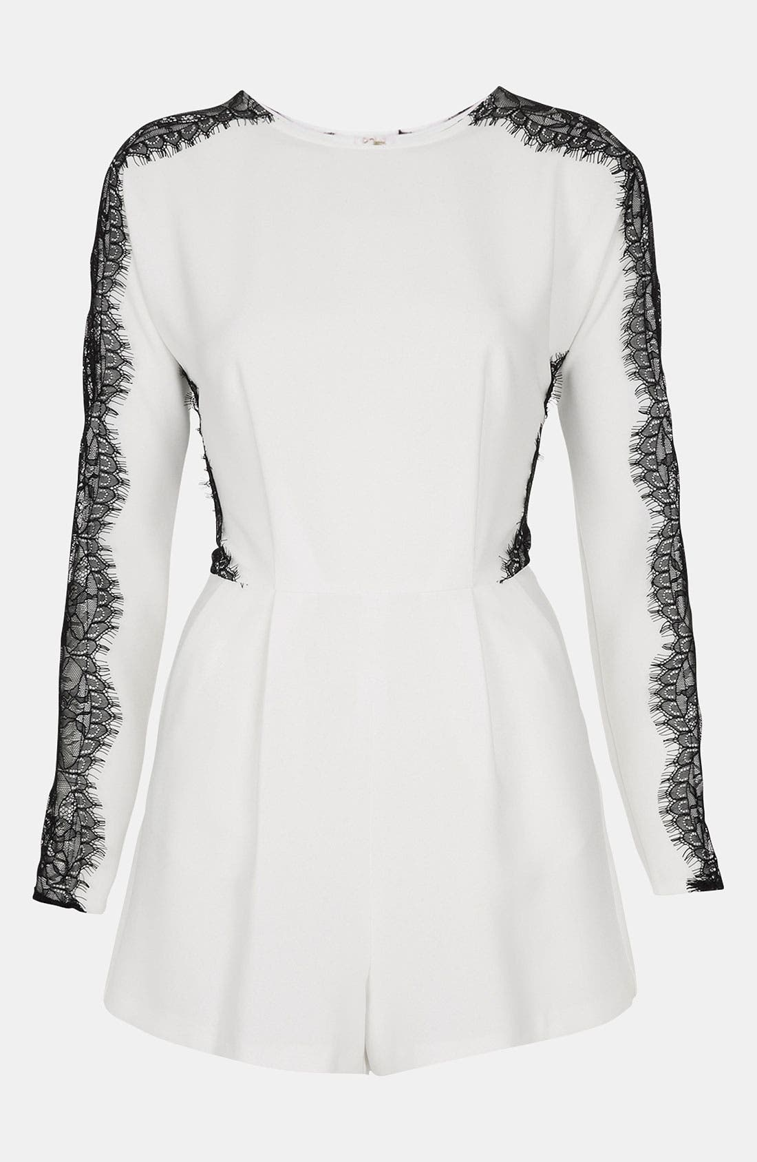 Alternate Image 1 Selected - Topshop Lace Inset Romper