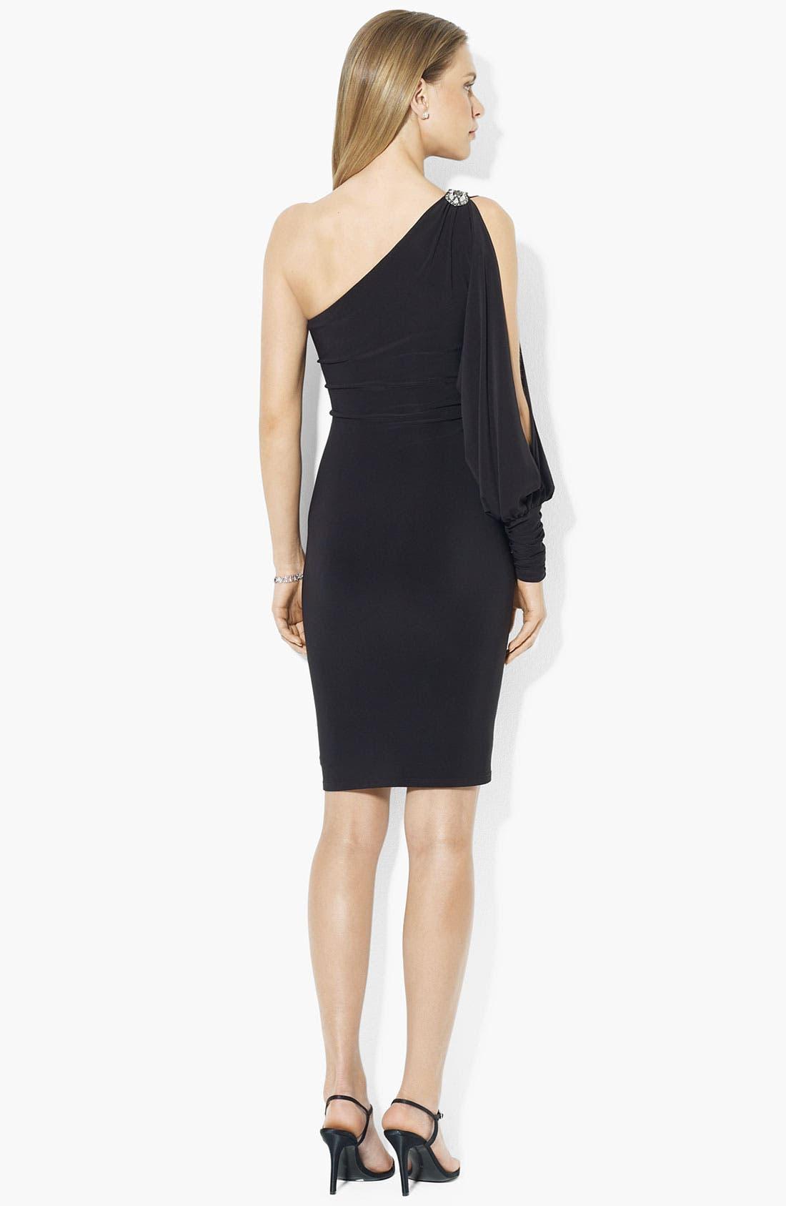 Alternate Image 2  - Lauren Ralph Lauren One Shoulder Jersey Dress
