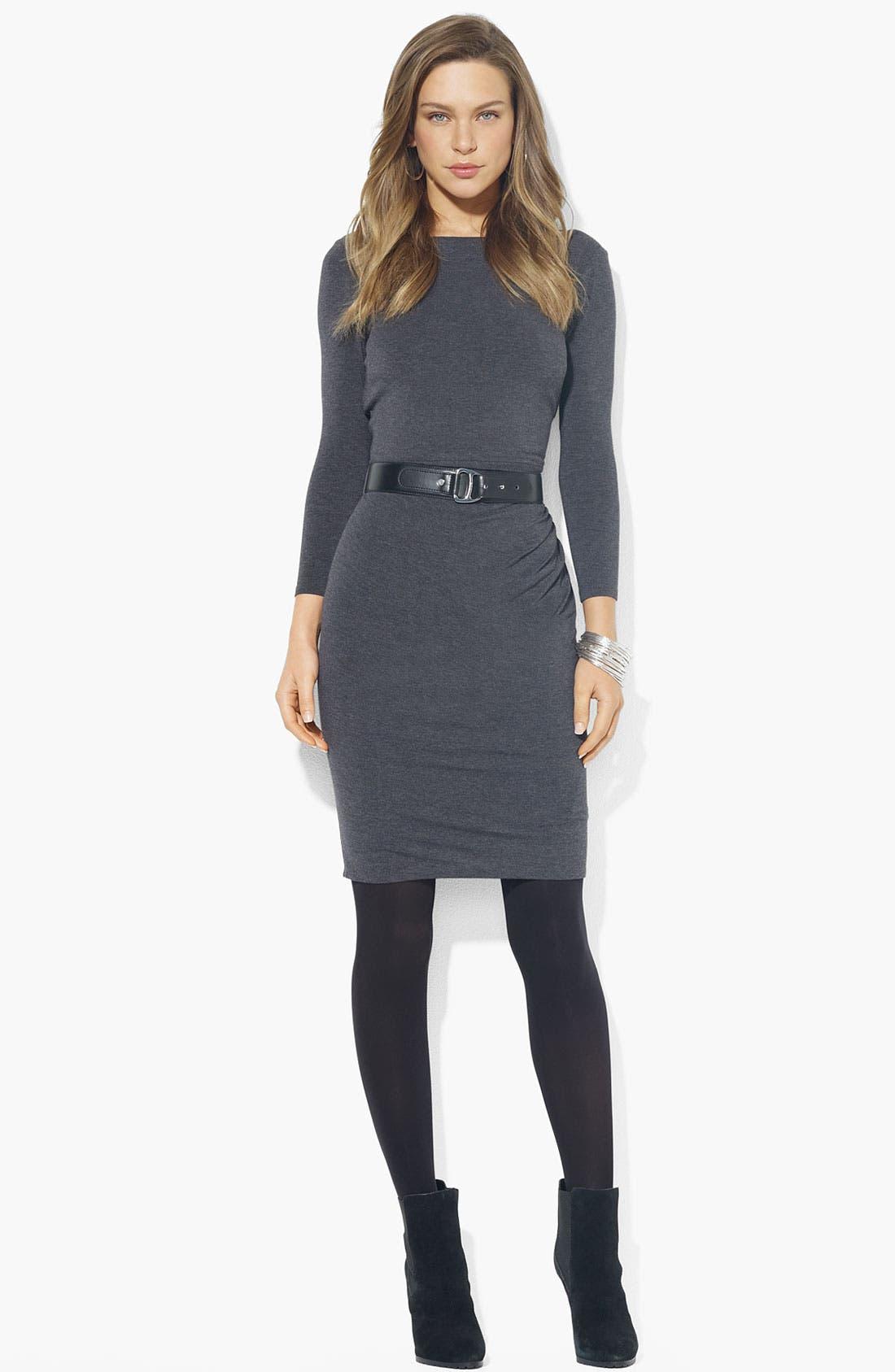Main Image - Lauren Ralph Lauren Boatneck Belted Jersey Dress