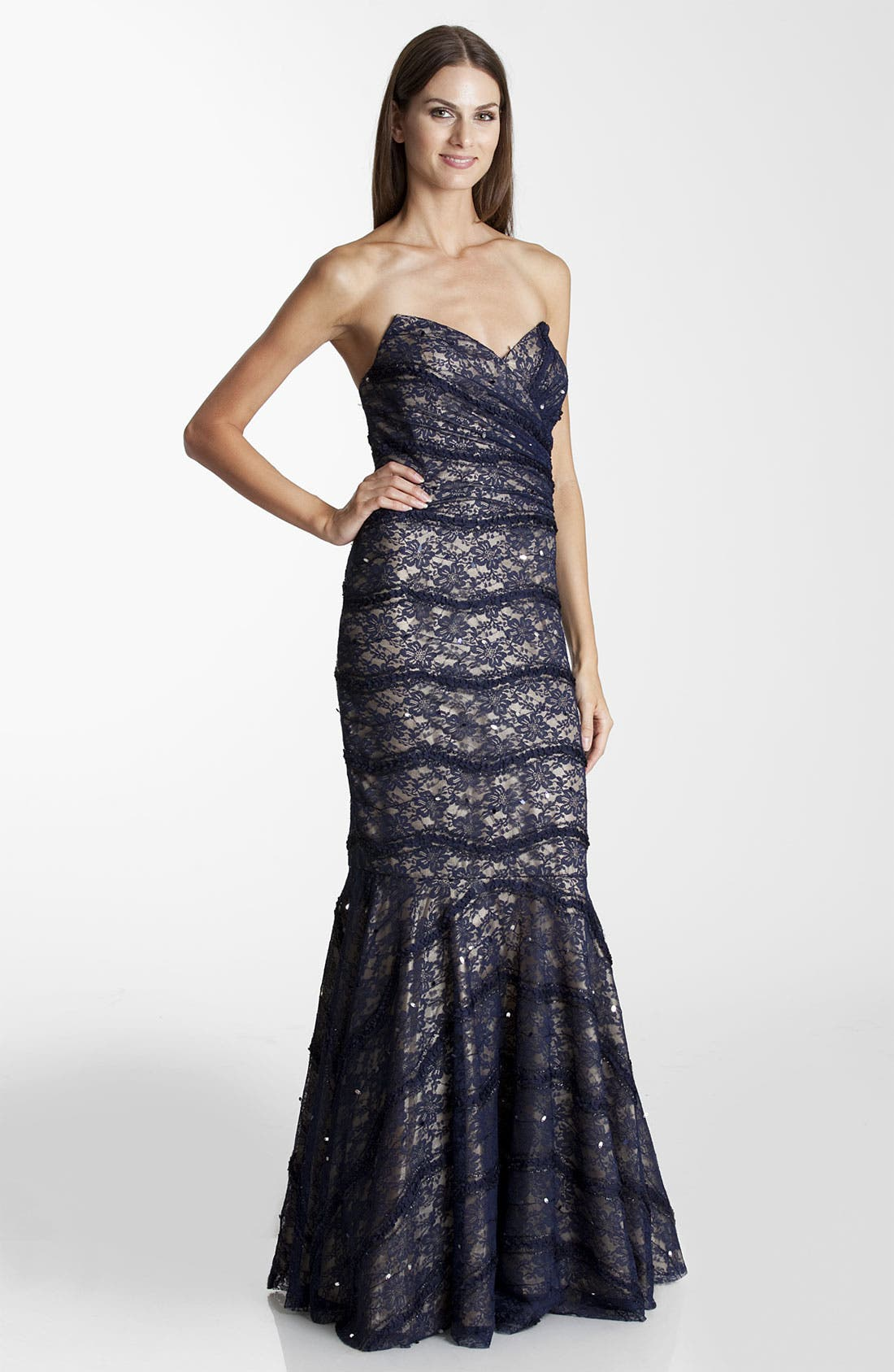 Alternate Image 1 Selected - JS Collections Strapless Lace Trumpet Gown