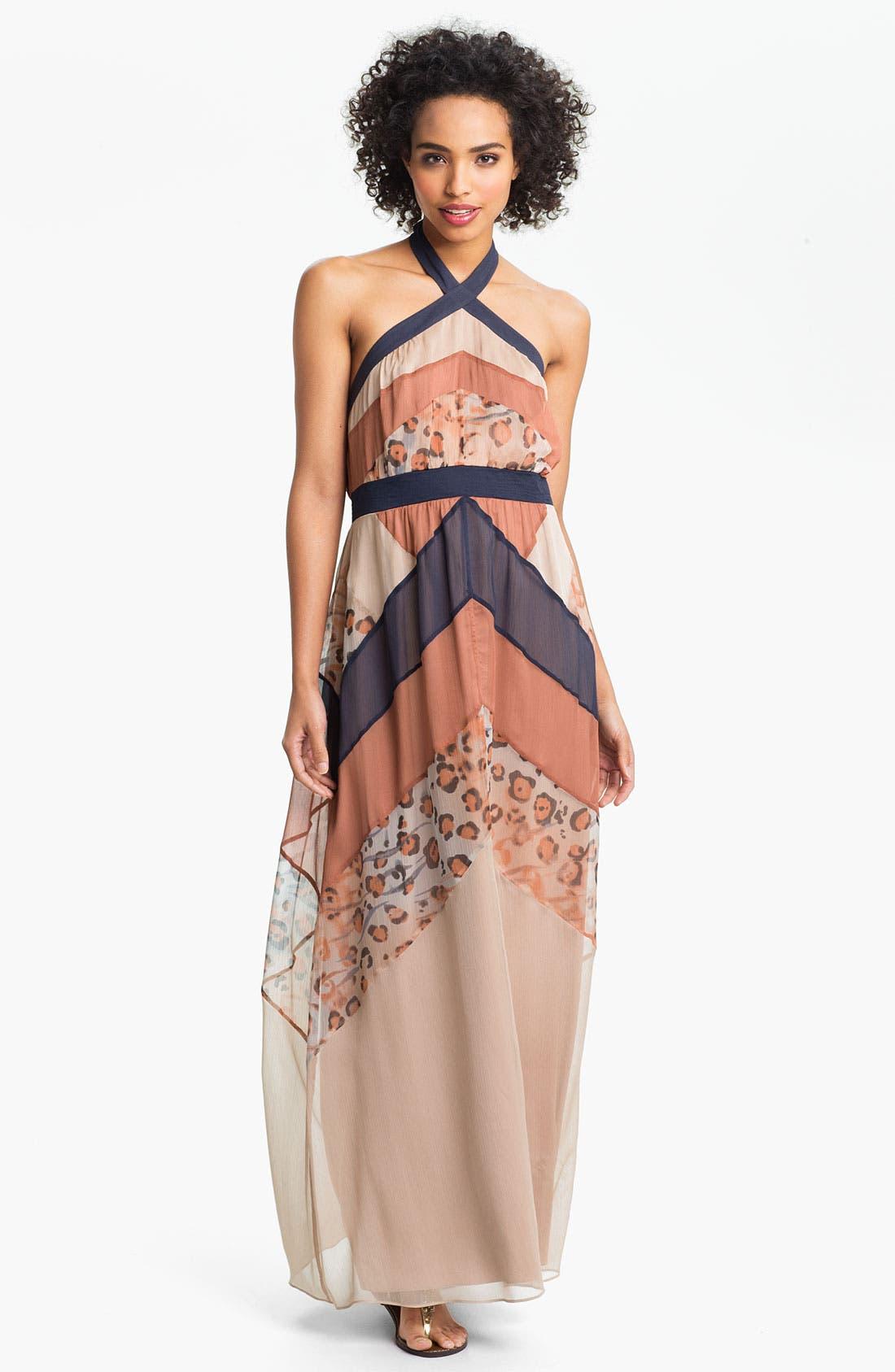 Main Image - Jessica Simpson Print Chiffon Halter Maxi Dress