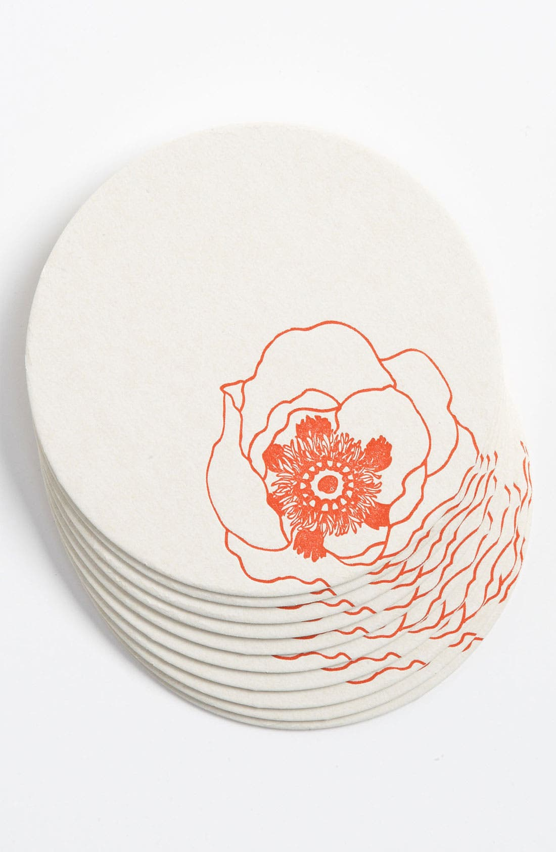 Alternate Image 1 Selected - 'Poppy Flowers' Letterpress Coasters (Set of 10)