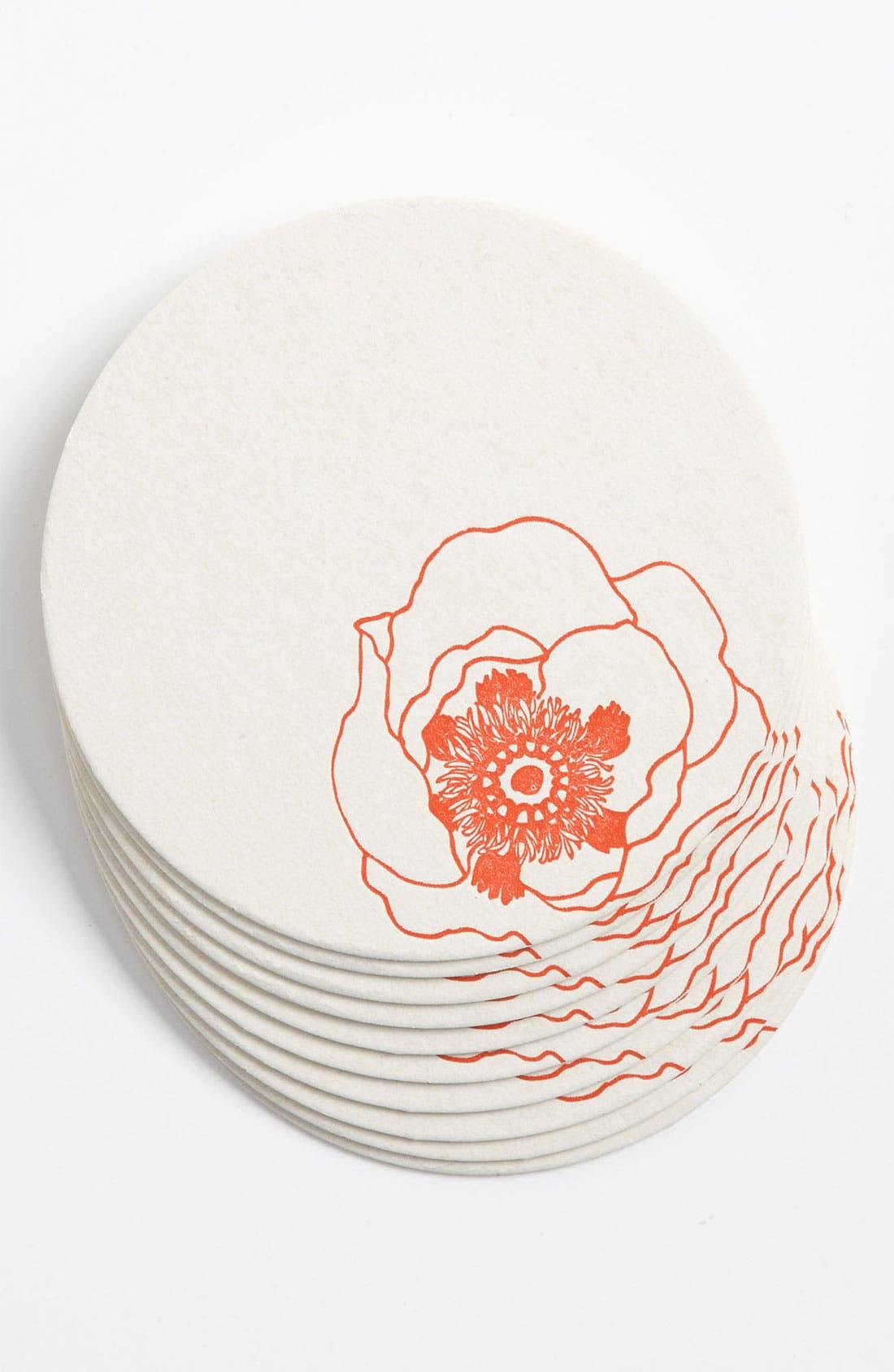 Main Image - 'Poppy Flowers' Letterpress Coasters (Set of 10)
