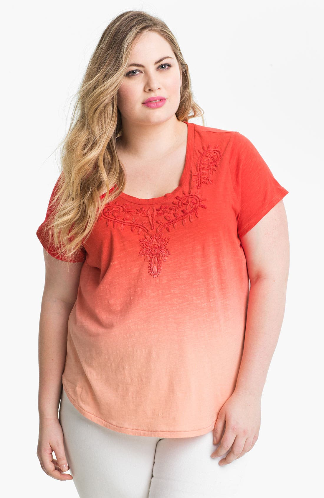Alternate Image 1 Selected - Lucky Brand Embroidered Cotton Tee (Plus Size)