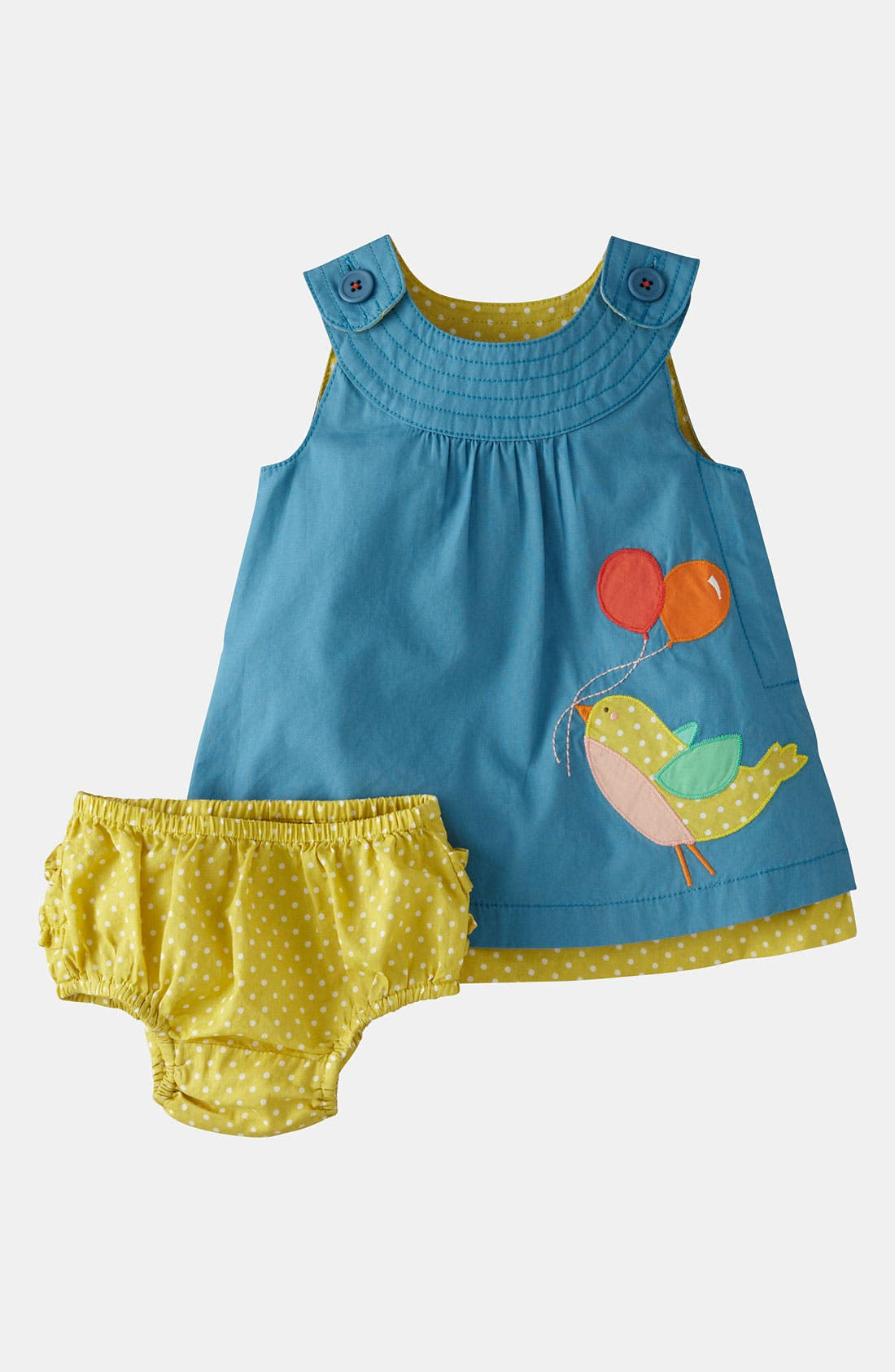 Alternate Image 1 Selected - Mini Boden Appliqué Dress & Bloomers (Infant)