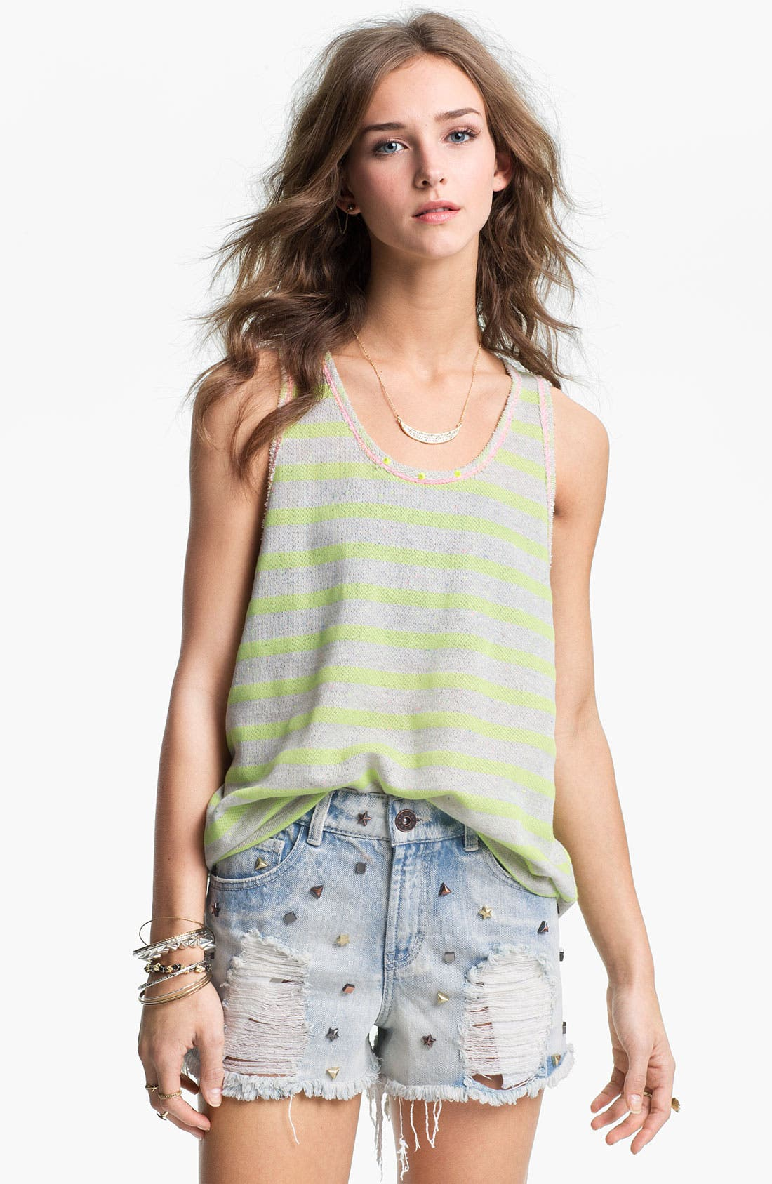 Alternate Image 1 Selected - Lush Oversized Neon Stripe Terry Tank (Juniors)