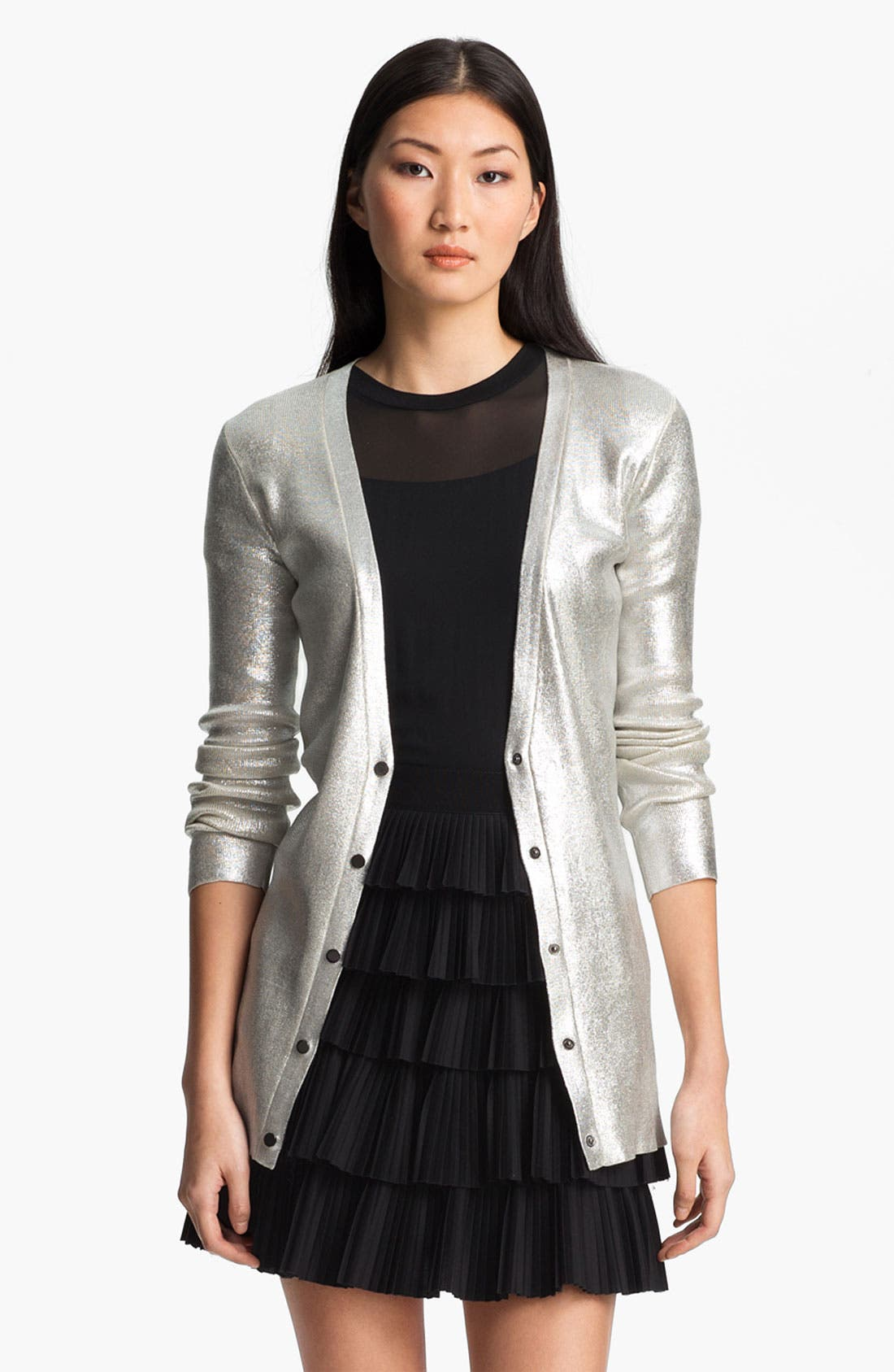Alternate Image 2  - Robert Rodriguez Silver Laminated Cardigan