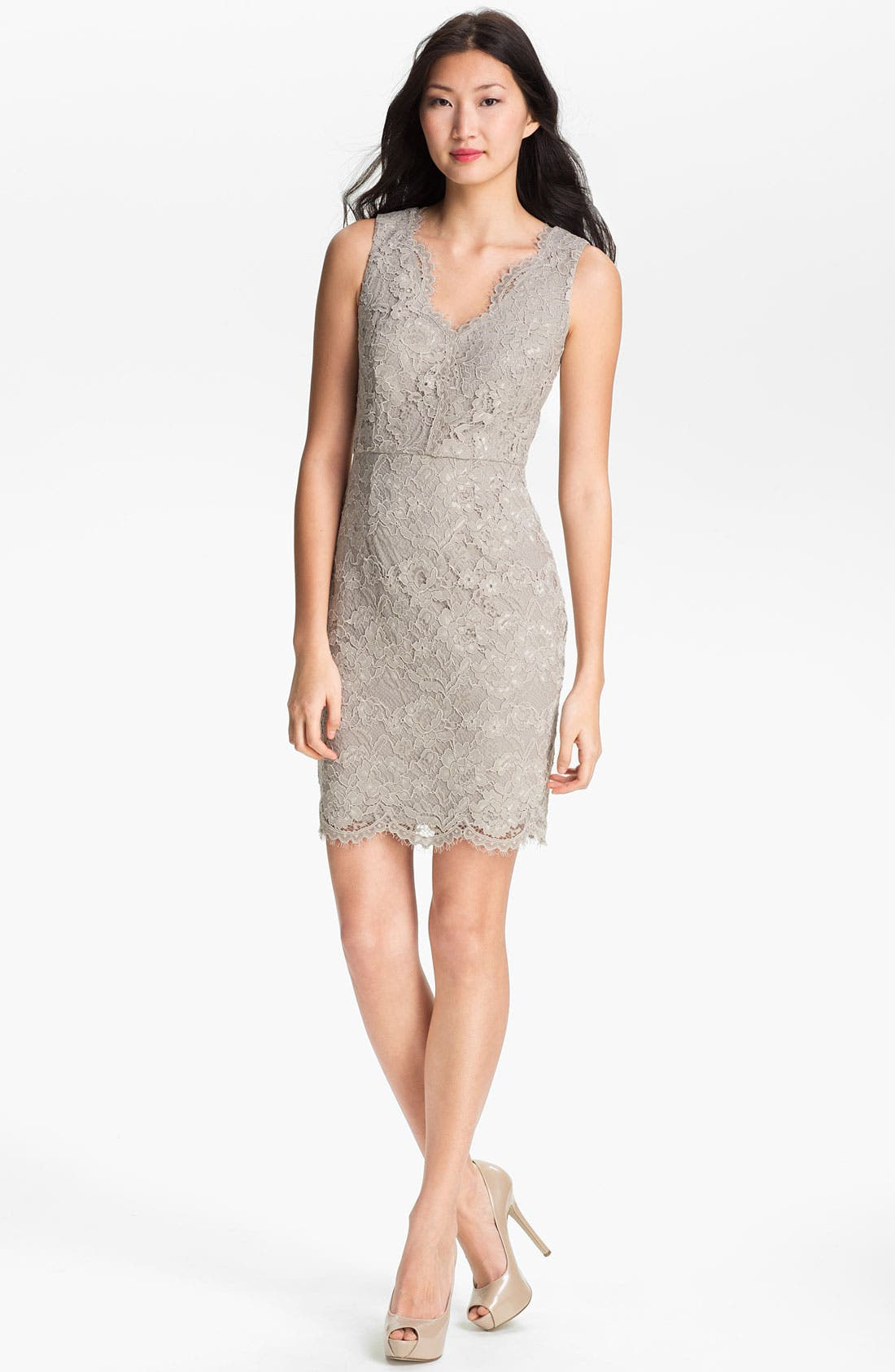 Alternate Image 1 Selected - Adrianna Papell V-Neck Lace Dress