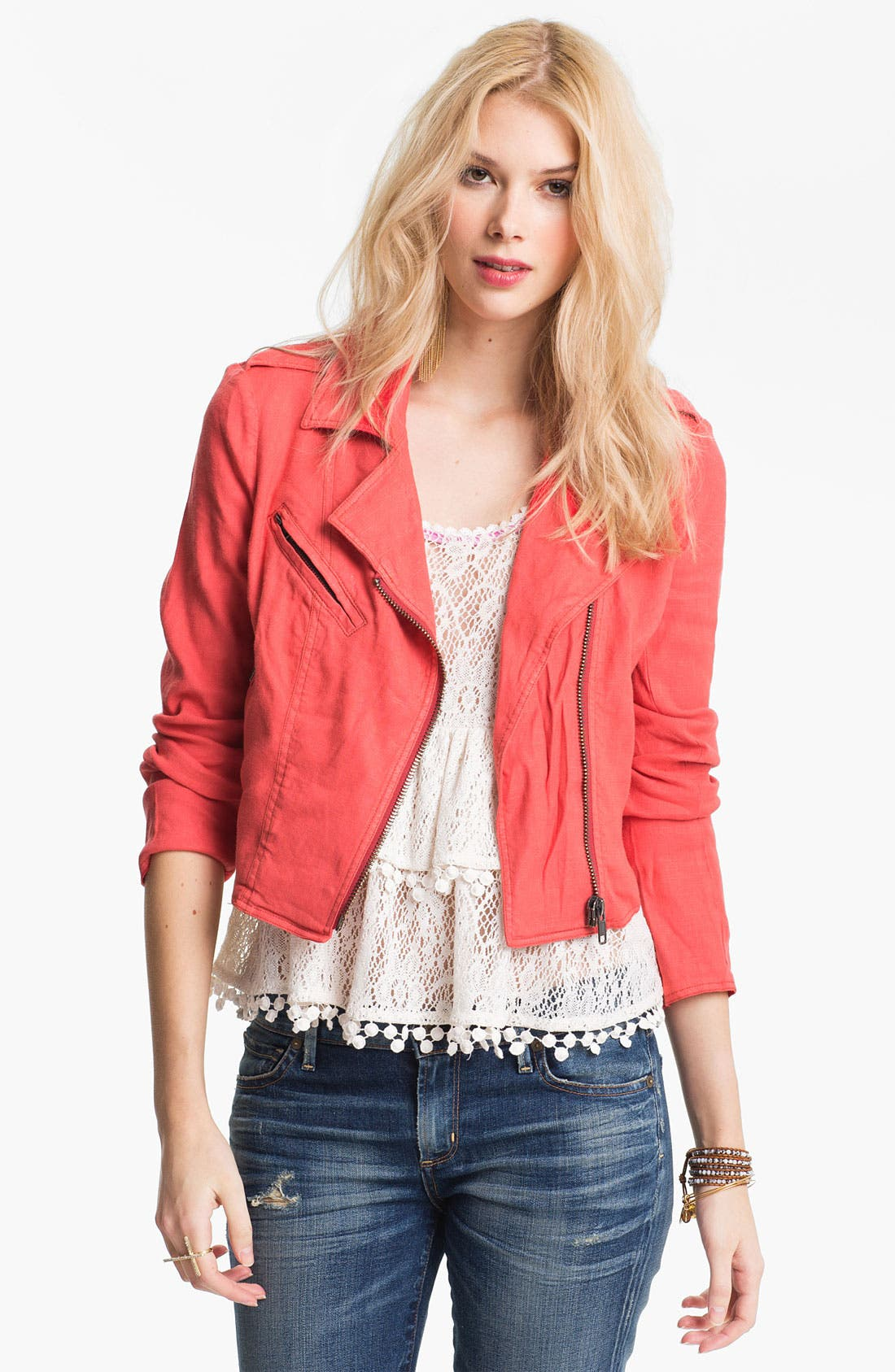 Main Image - Free People Linen Moto Jacket