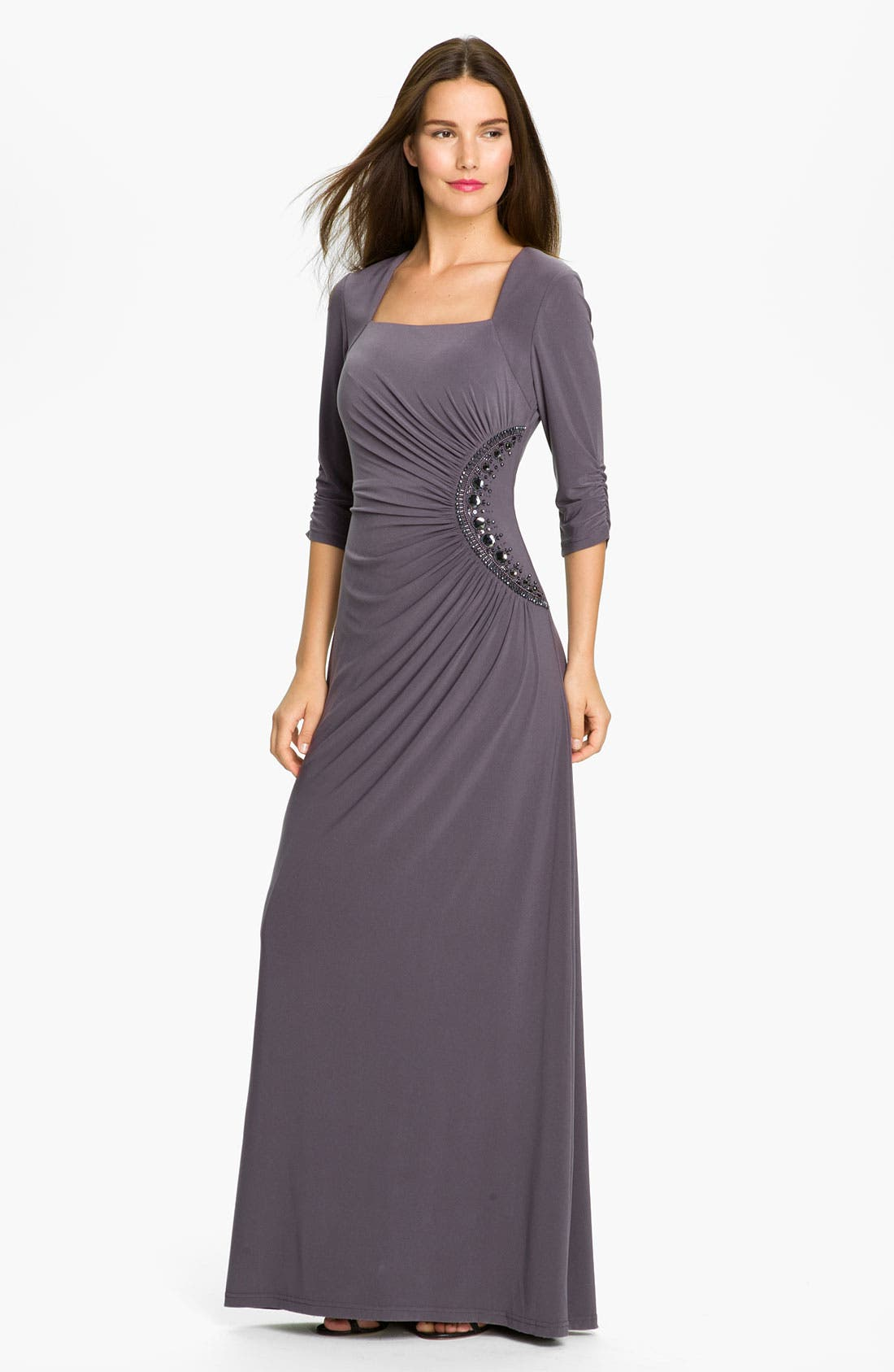 Main Image - Adrianna Papell Beaded Jersey Gown (Petite)