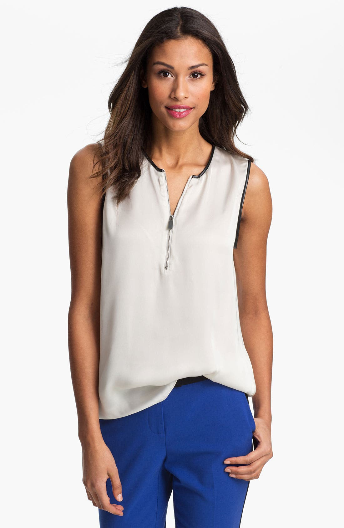 Main Image - Vince Camuto Faux Leather Trim Henley Blouse