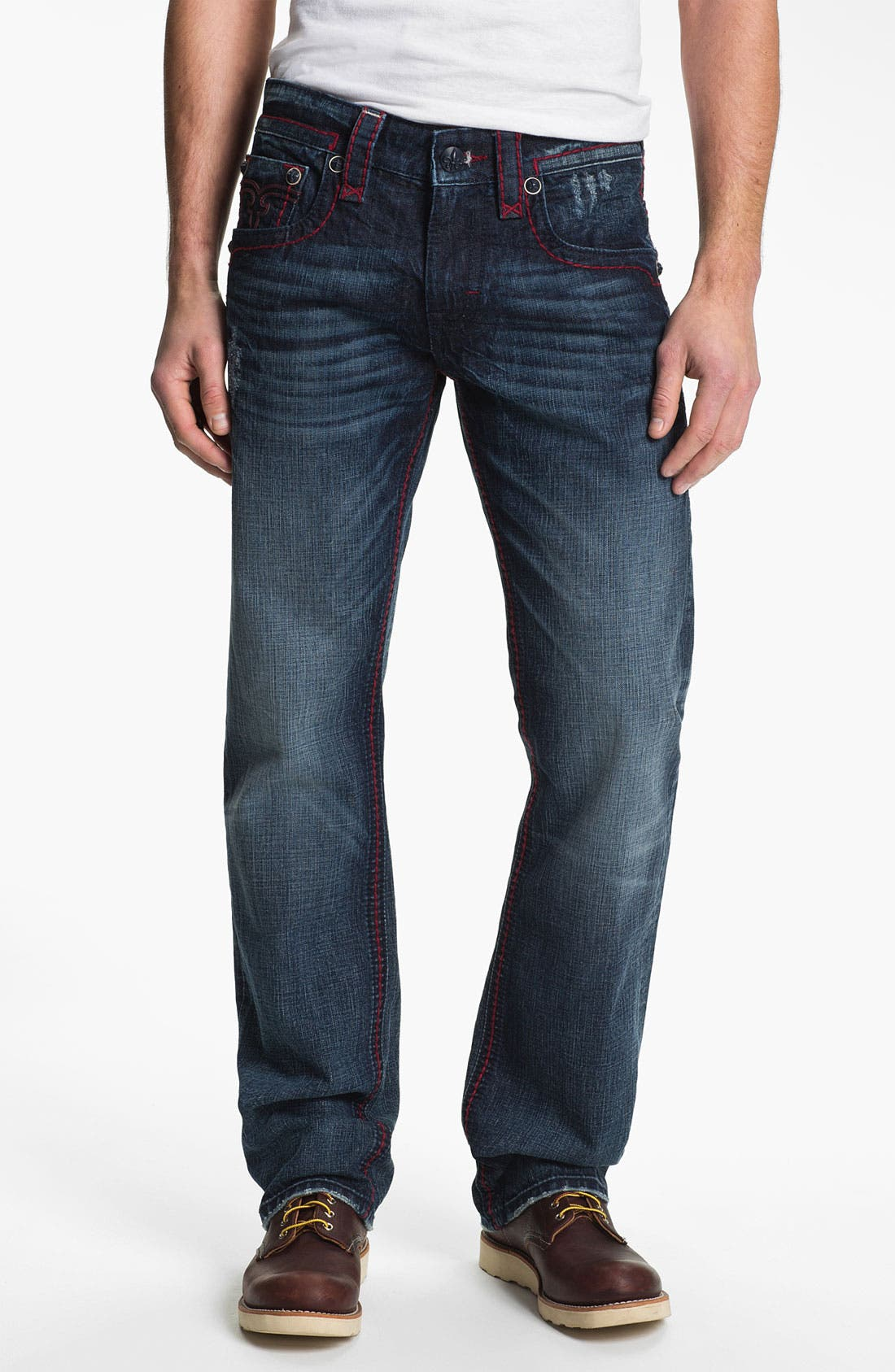 Alternate Image 2  - Rock Revival 'Dan' Straight Leg Jeans (Dark Blue)