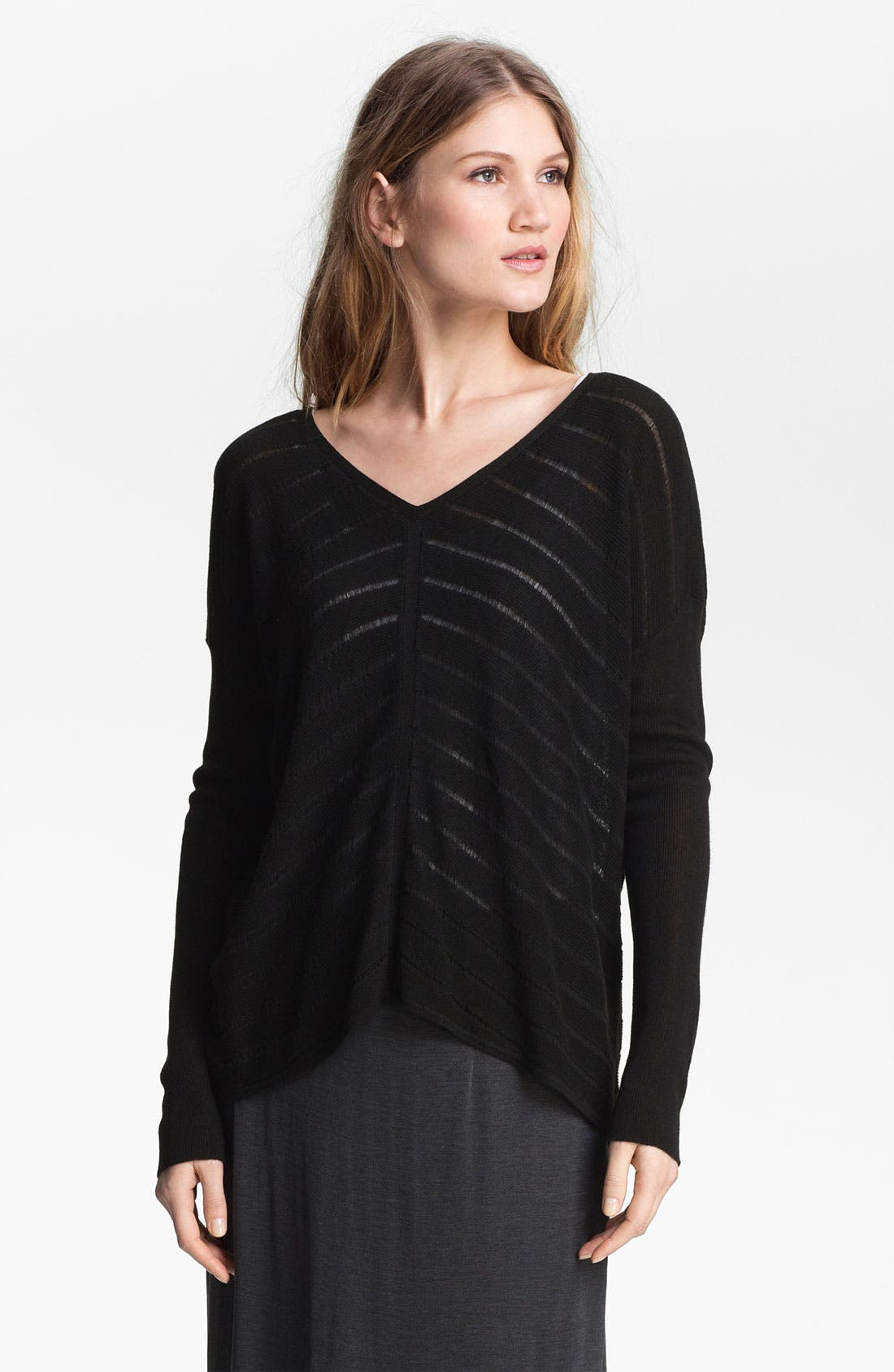 Alternate Image 1 Selected - Eileen Fisher Stripe Knit V-Neck Top (Online Exclusive)