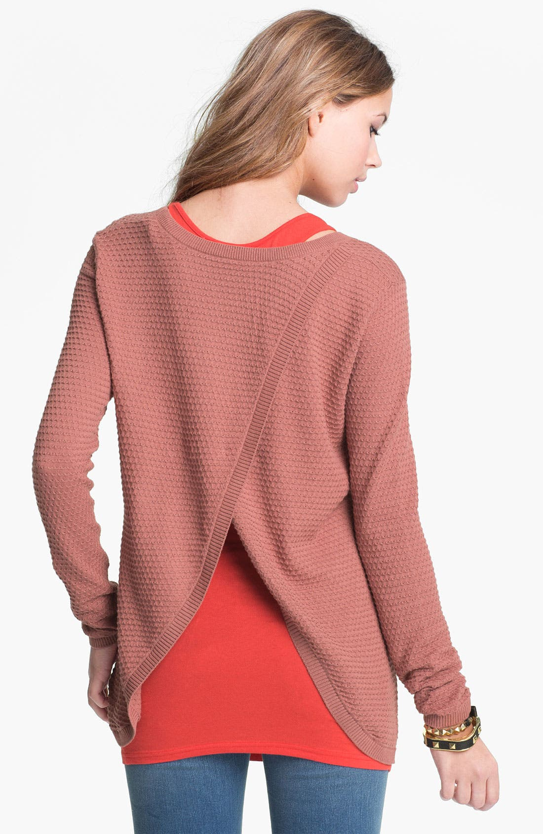 Alternate Image 1 Selected - Frenchi® Split Back Pointelle Sweater (Juniors)