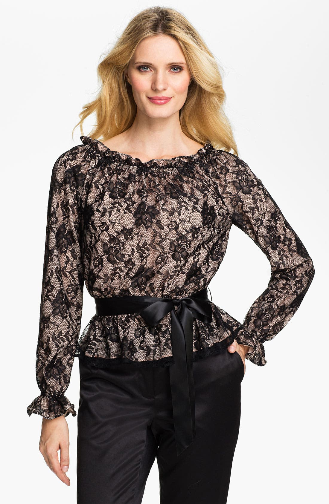 Main Image - Adrianna Papell Bishop Sleeve Lace Blouse (Petite)