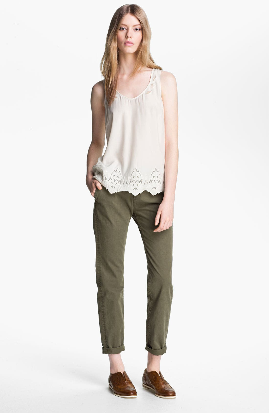 Main Image - rag & bone 'Caleigh' Embroidered Silk Tank