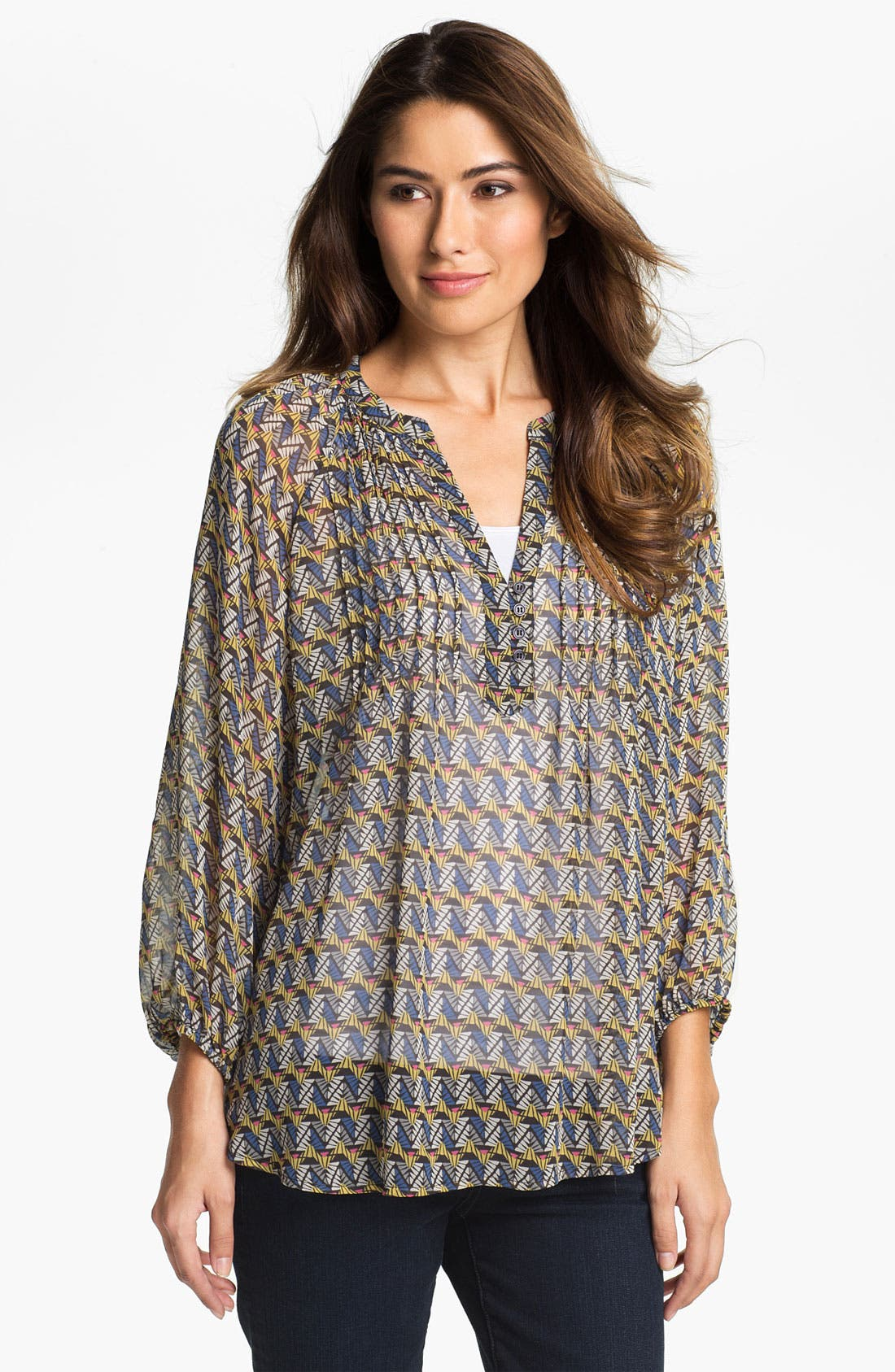 Main Image - Pleione Pleated Bib Print Blouse