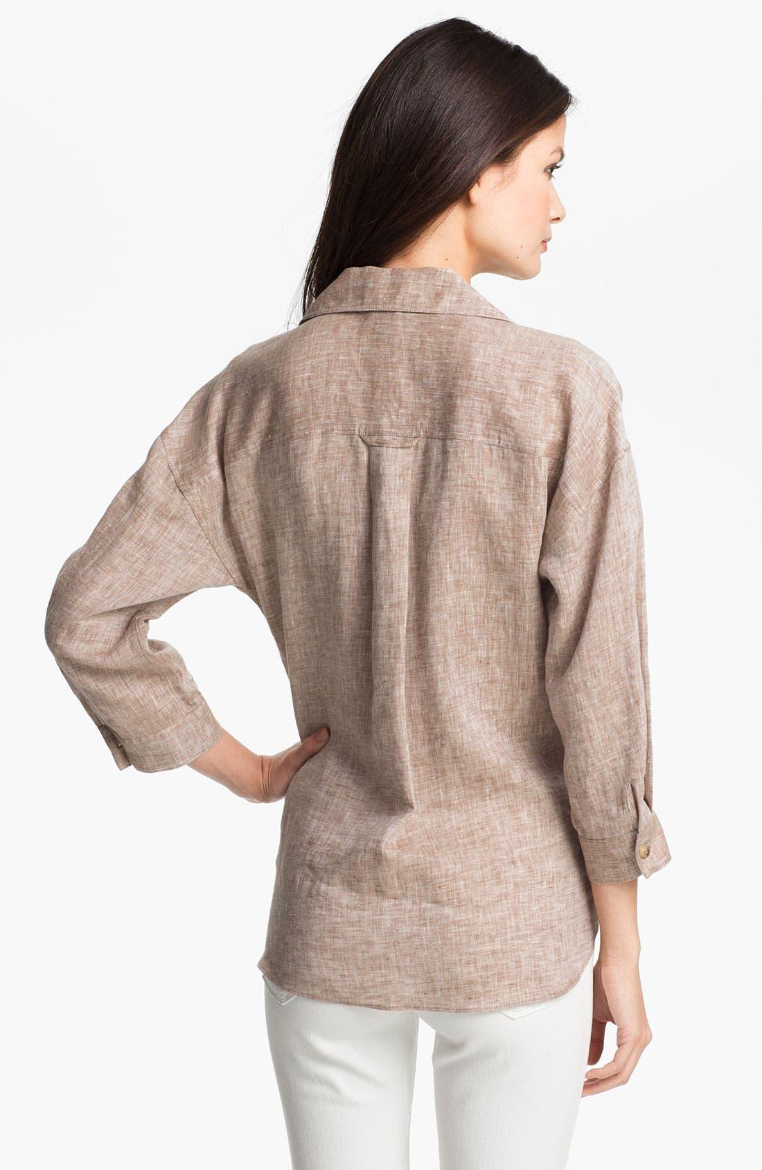 Alternate Image 2  - Lafayette 148 New York 'Lush' Cross Dye Linen Shirt