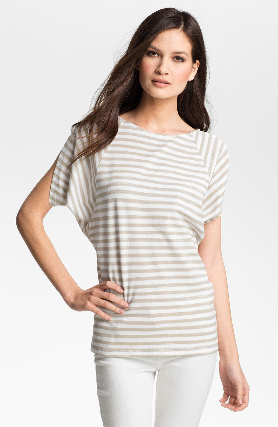 Alternate Image 1 Selected - Lafayette 148 New York Butterfly Sleeve Stripe Top