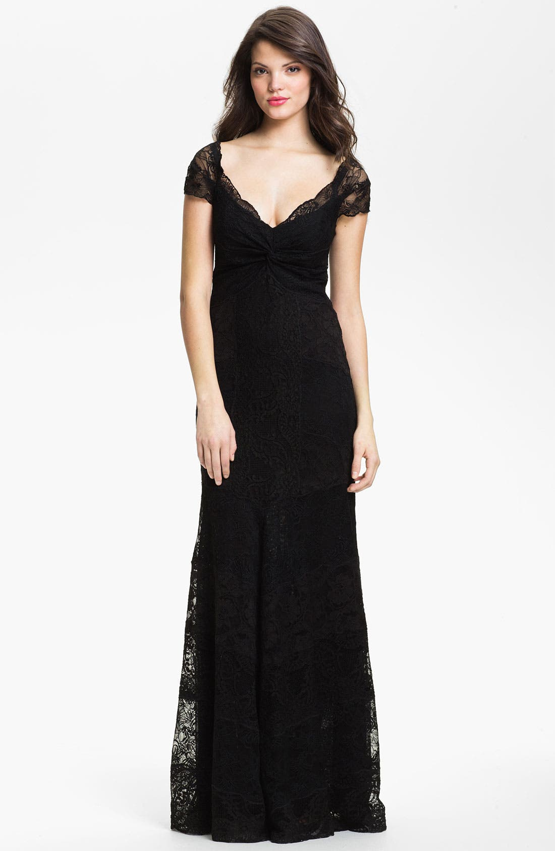 Alternate Image 1 Selected - Nicole Miller Twist Front Lace Trumpet Gown