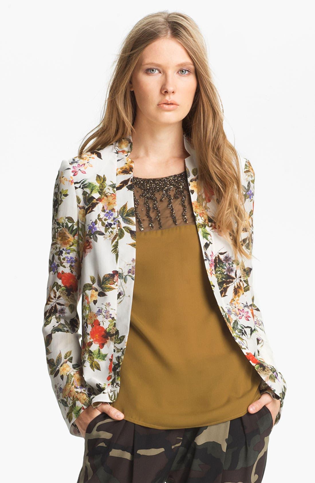Main Image - Haute Hippie Floral Print Silk Blazer