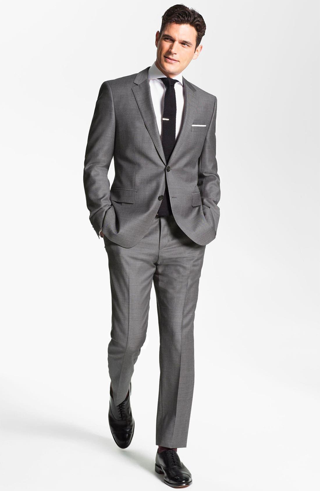 Alternate Image 1 Selected - BOSS Black Trim Fit Wool Suit & Woven Silk Tie