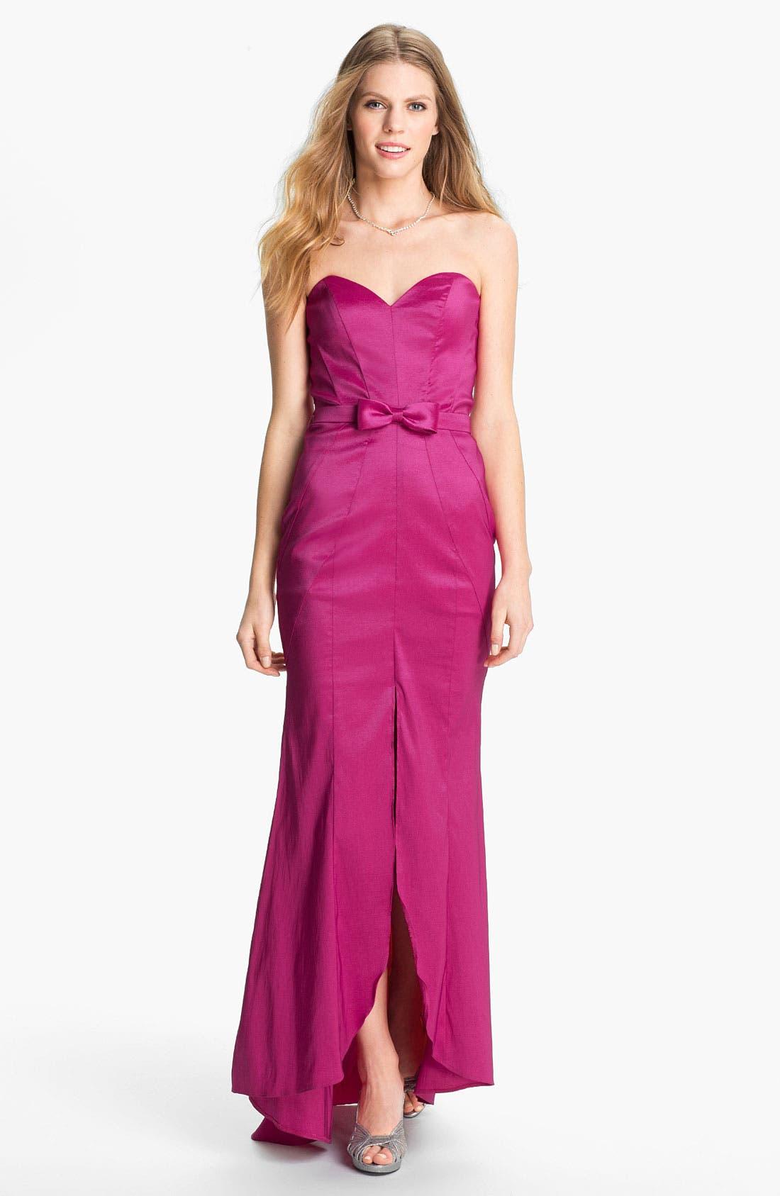 Main Image - Jessica McClintock Seamed Strapless Taffeta Gown