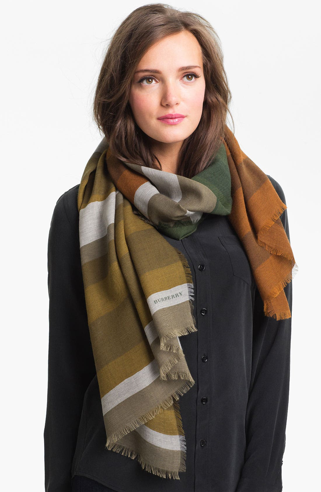 Main Image - Burberry Overprinted Wool & Silk Scarf