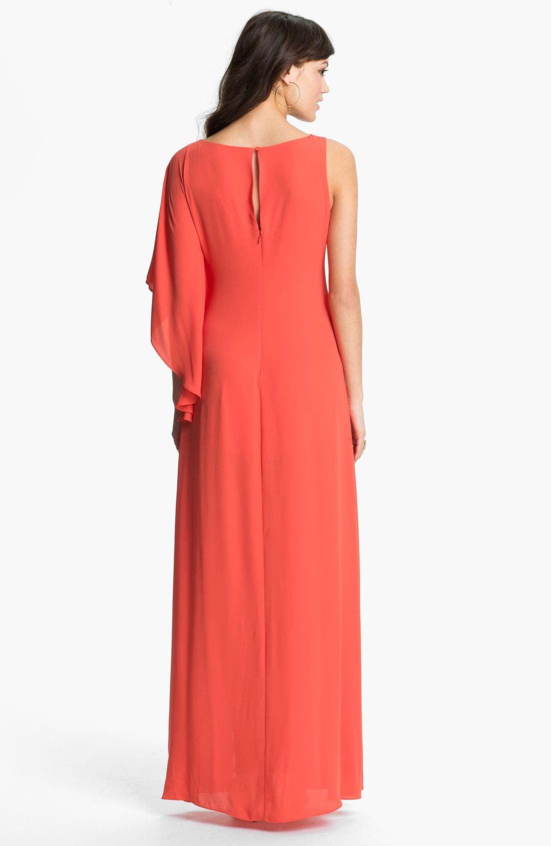 Alternate Image 2  - BCBGMAXAZRIA Single Sleeve Chiffon Gown