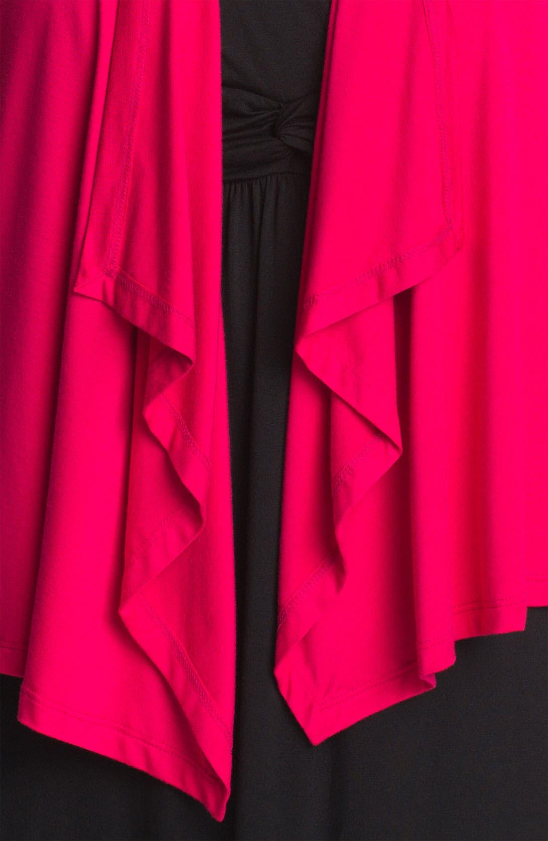 Alternate Image 3  - Karen Kane Shirred Sleeve Draped Cardigan (Plus) (Online Only)