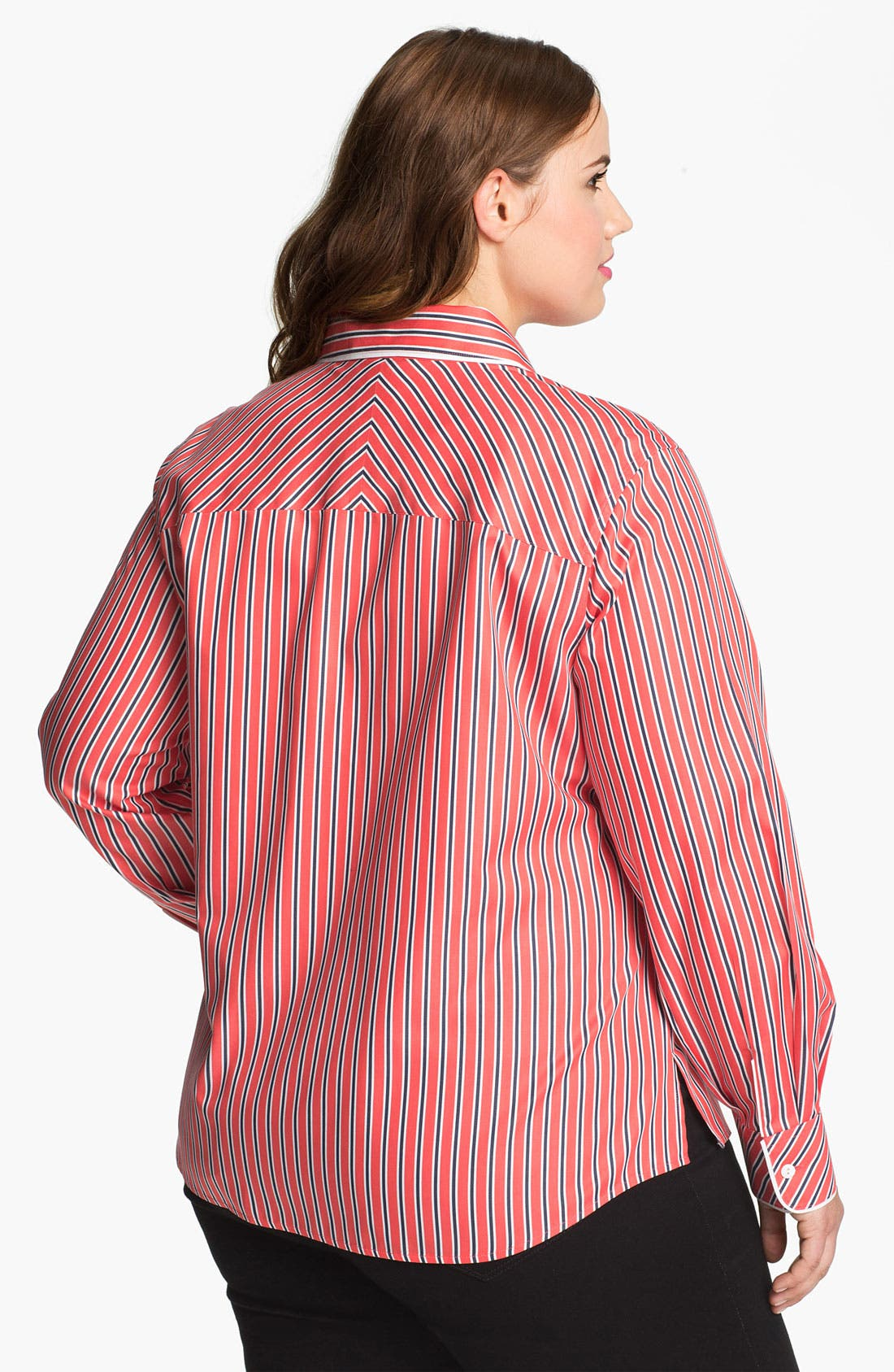 Alternate Image 2  - Foxcroft 'Papaya' Stripe Shaped Cotton Shirt (Plus Size)