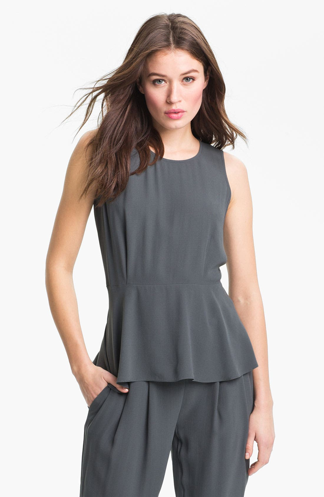 Alternate Image 1 Selected - Eileen Fisher Silk Georgette Peplum Blouse (Online Only)