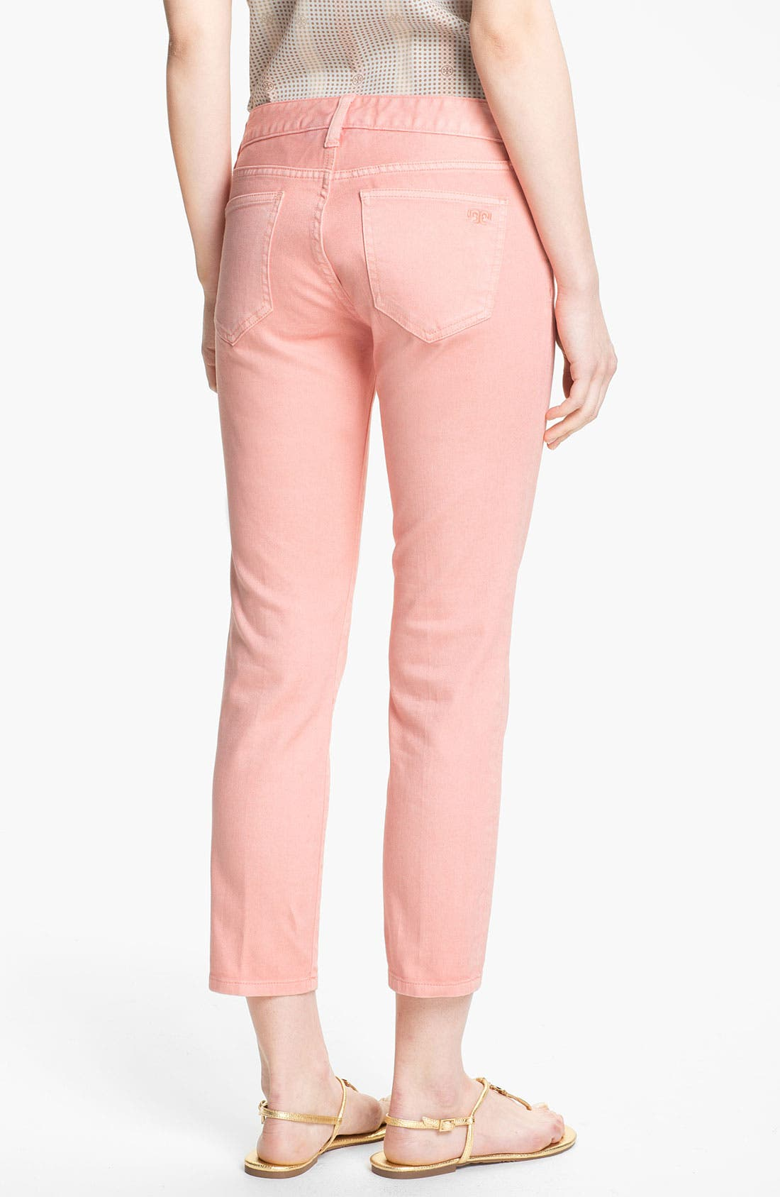 Alternate Image 2  - Tory Burch 'Alexa' Crop Skinny Stretch Jeans (Light Coral)