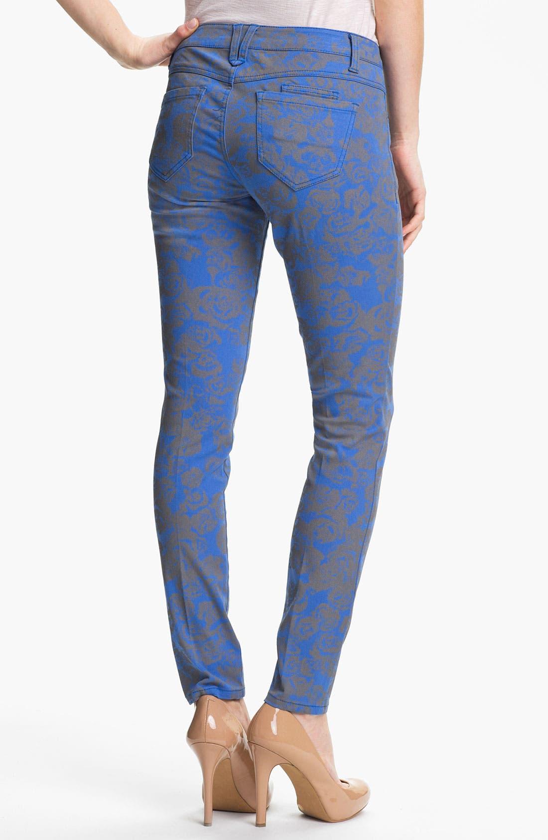 Alternate Image 2  - Wit & Wisdom Floral Print Skinny Jeans (Indigo) (Nordstrom Exclusive)