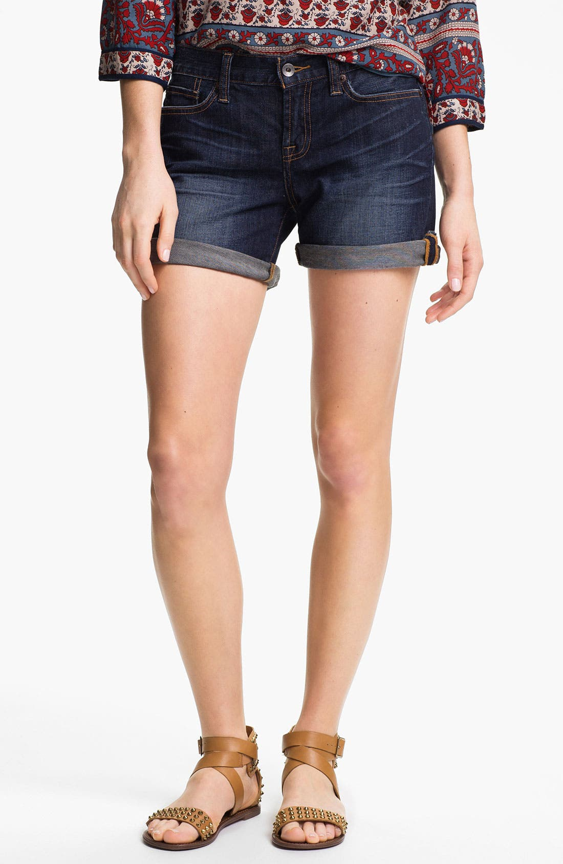 Main Image - Lucky Brand 'Abbey' Double Roll Denim Shorts (Dark Helms)