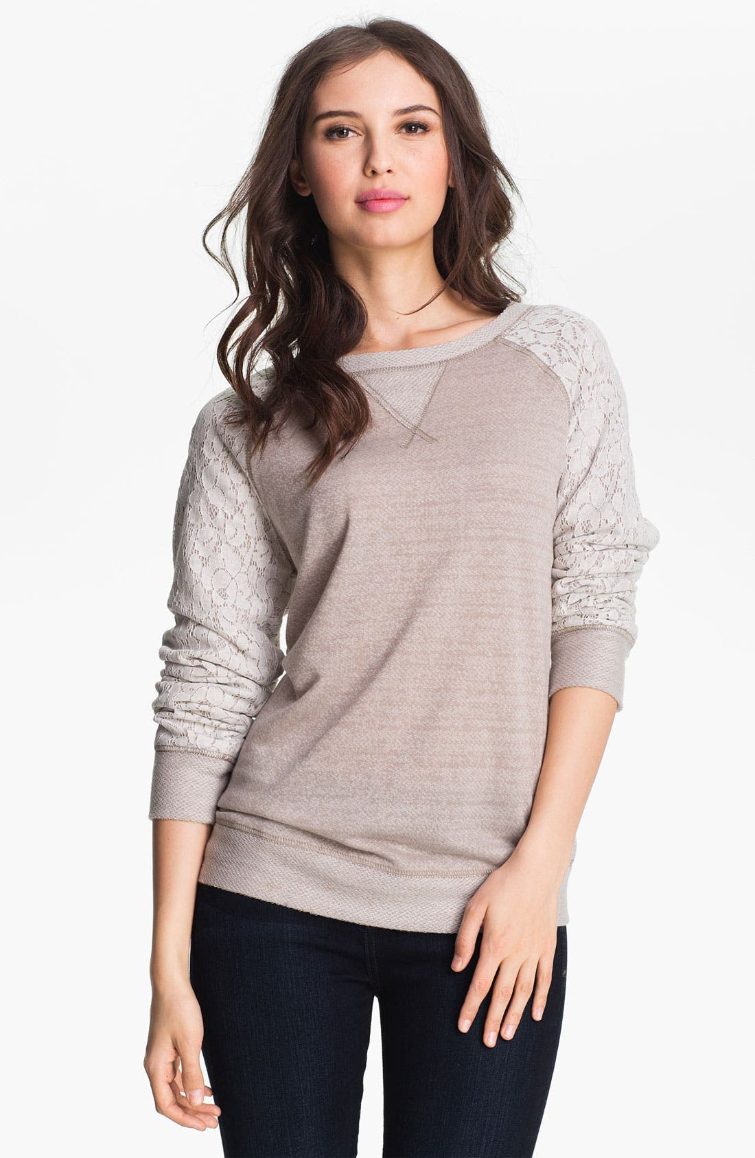 Alternate Image 1 Selected - Olivia Moon Lace Sleeve Sweatshirt