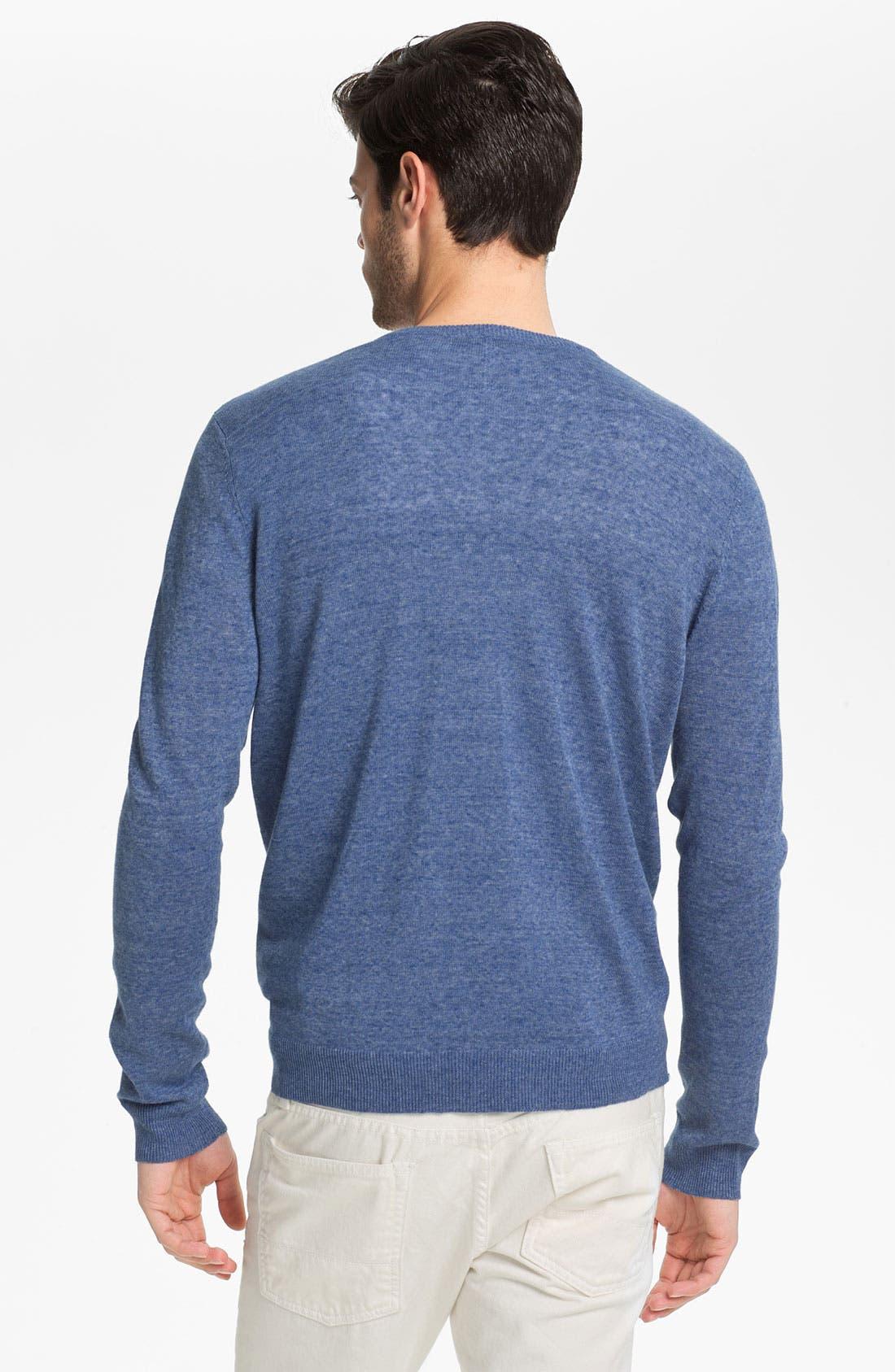 Alternate Image 2  - Vince V-Neck Linen Blend Sweater