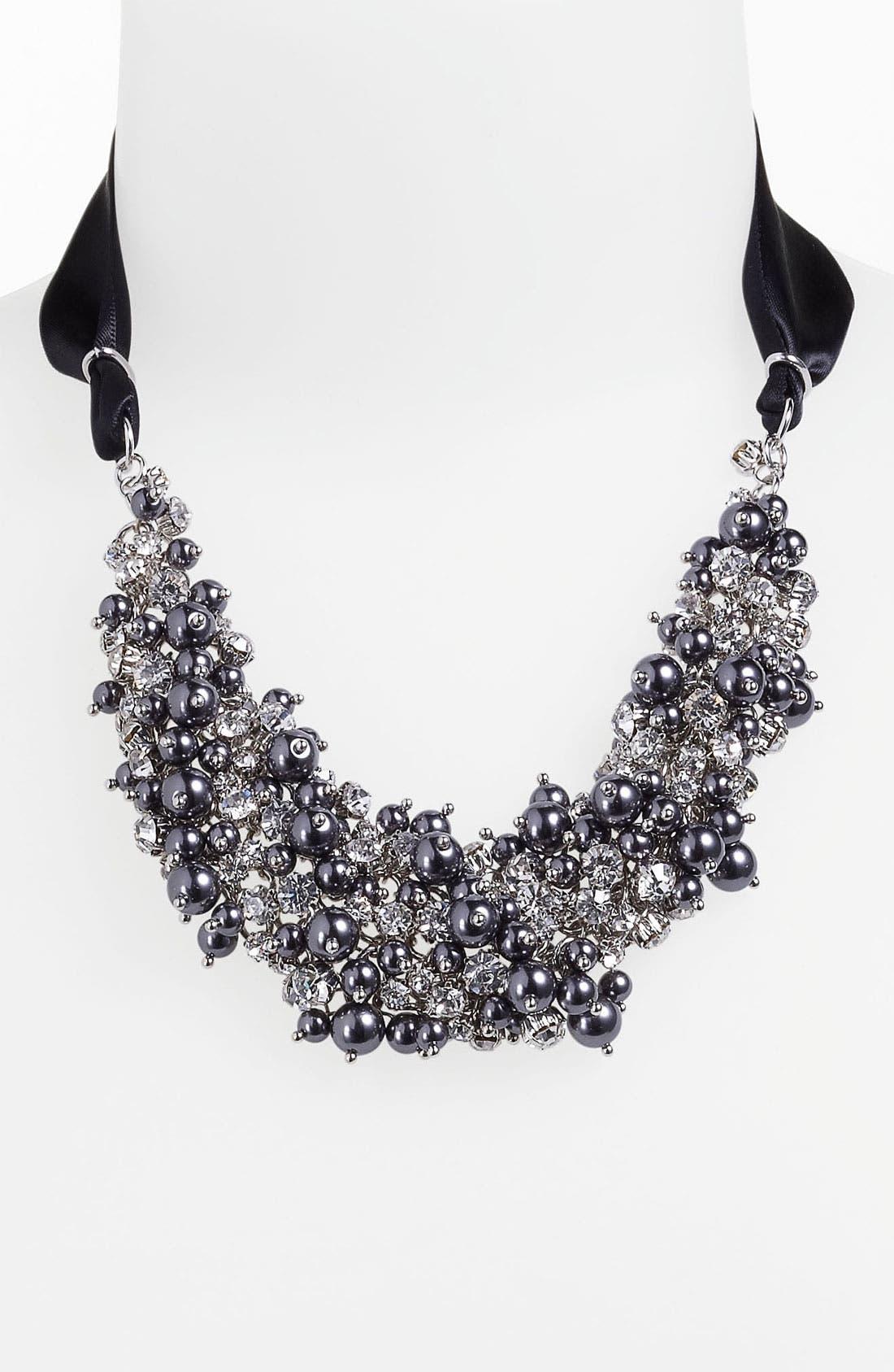 Main Image - Nina 'Melaney' Ribbon & Cluster Bib Necklace