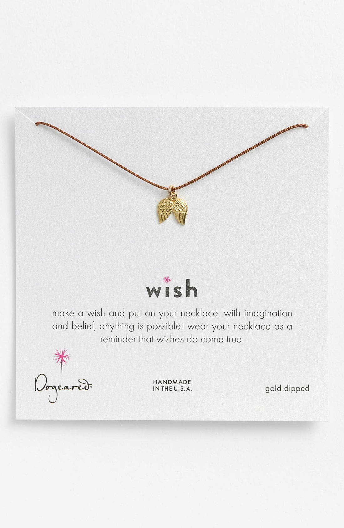 Alternate Image 1 Selected - Dogeared 'Wish' Angel Wings Charm Necklace