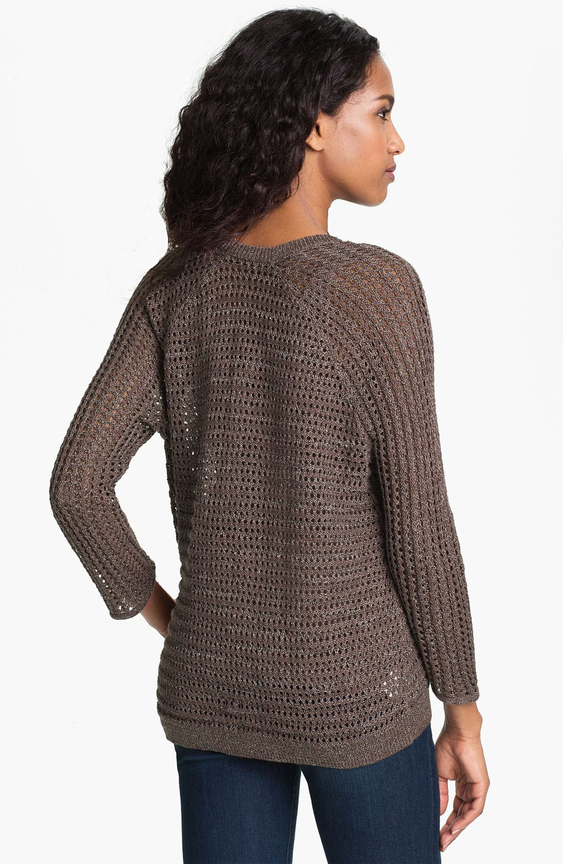 Alternate Image 2  - Amber Sun Open Stitch V-Neck Sweater