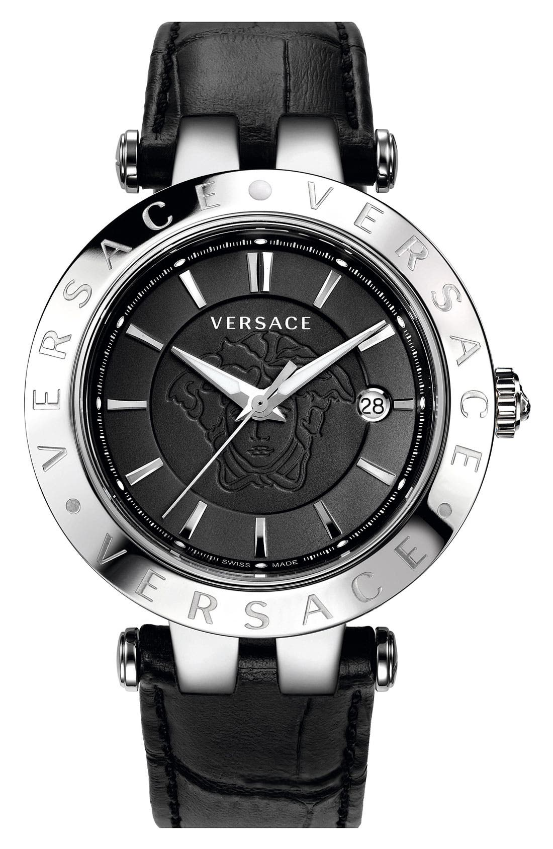Alternate Image 1 Selected - Versace 'V-Race' Leather Strap Watch, 42mm