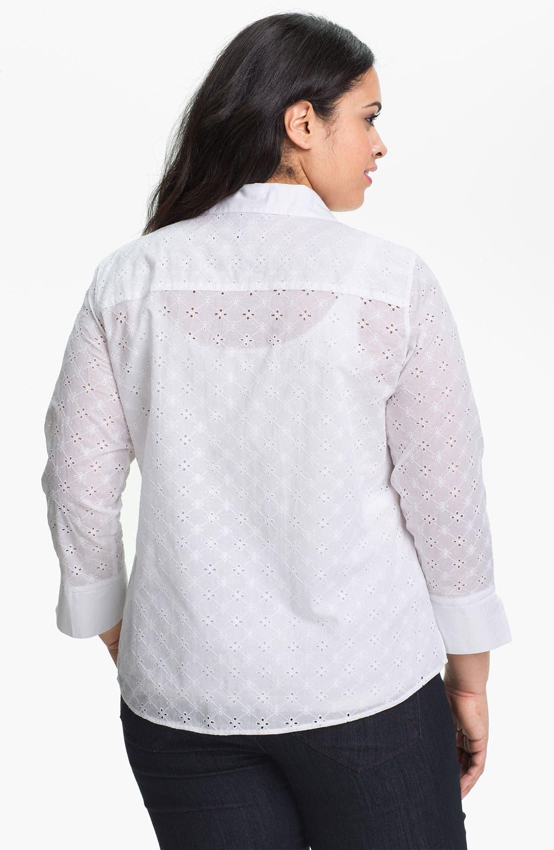 Alternate Image 2  - Foxcroft Three Quarter Sleeve Eyelet Shirt (Plus)
