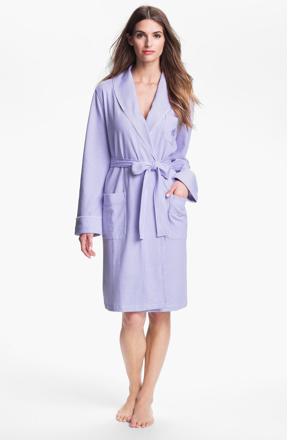 Main Image - Lauren Ralph Lauren Fine Stripe Knit Robe