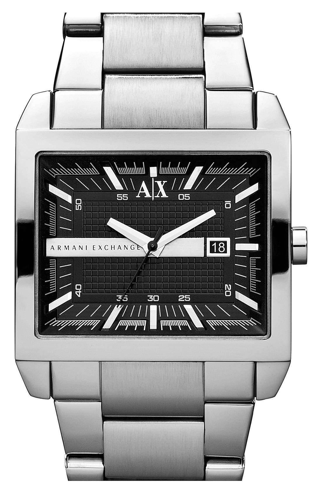 Main Image - AX Armani Exchange Rectangular Bracelet Watch, 46mm x 43mm