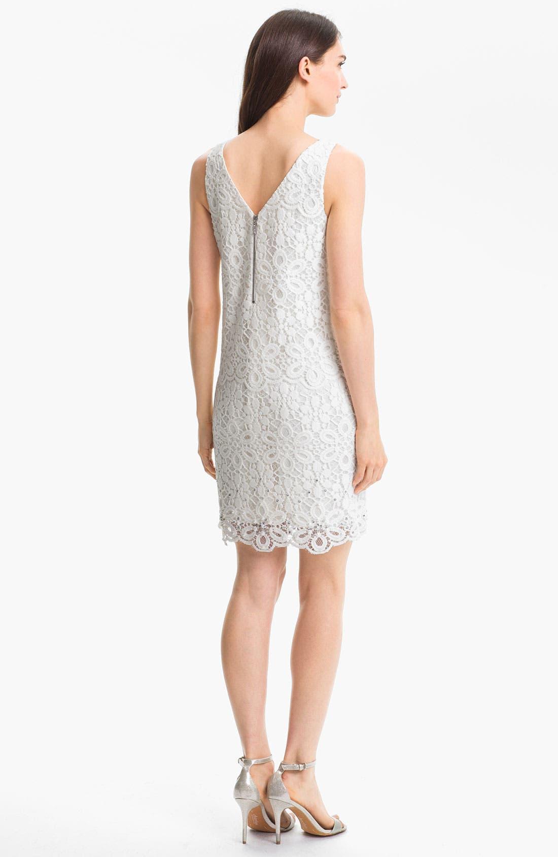 Alternate Image 2  - Laundry by Shelli Segal Embellished Lace Dress