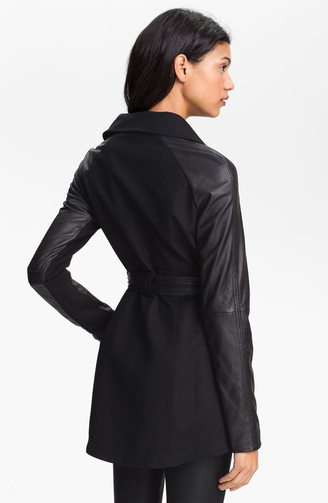Alternate Image 2  - Dawn Levy 'Morgan' Leather Sleeve Trench Jacket