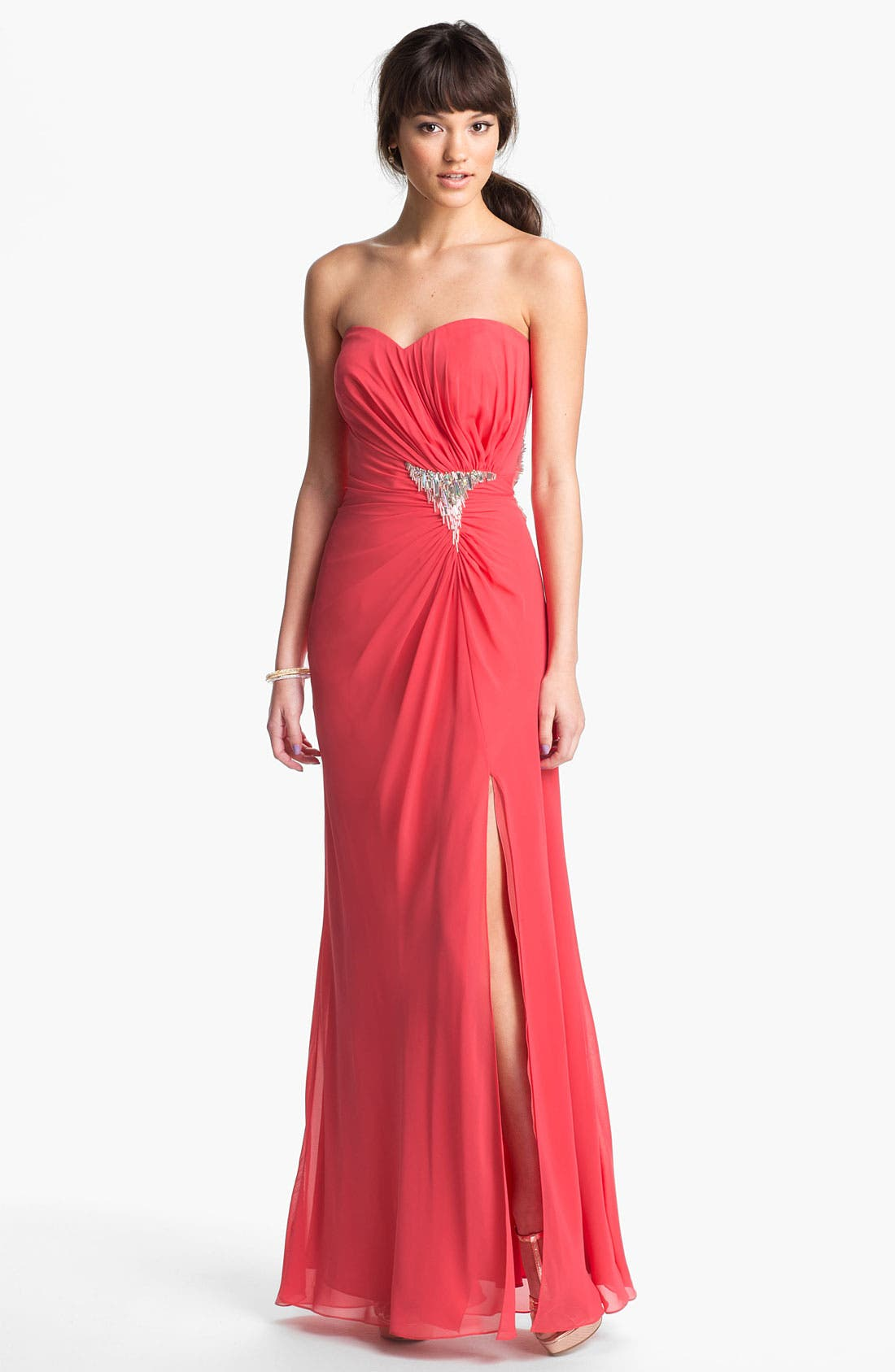 Alternate Image 1 Selected - Faviana Embellished Strapless Chiffon Gown