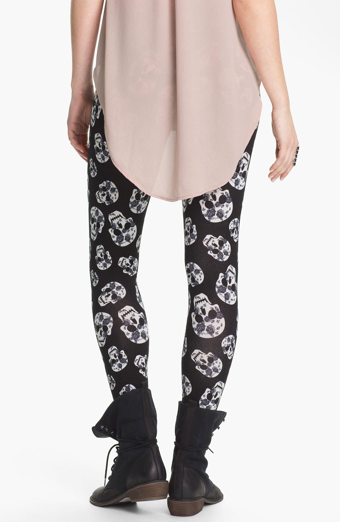 Alternate Image 2  - Mimi Chica Skull Print Leggings (Juniors)