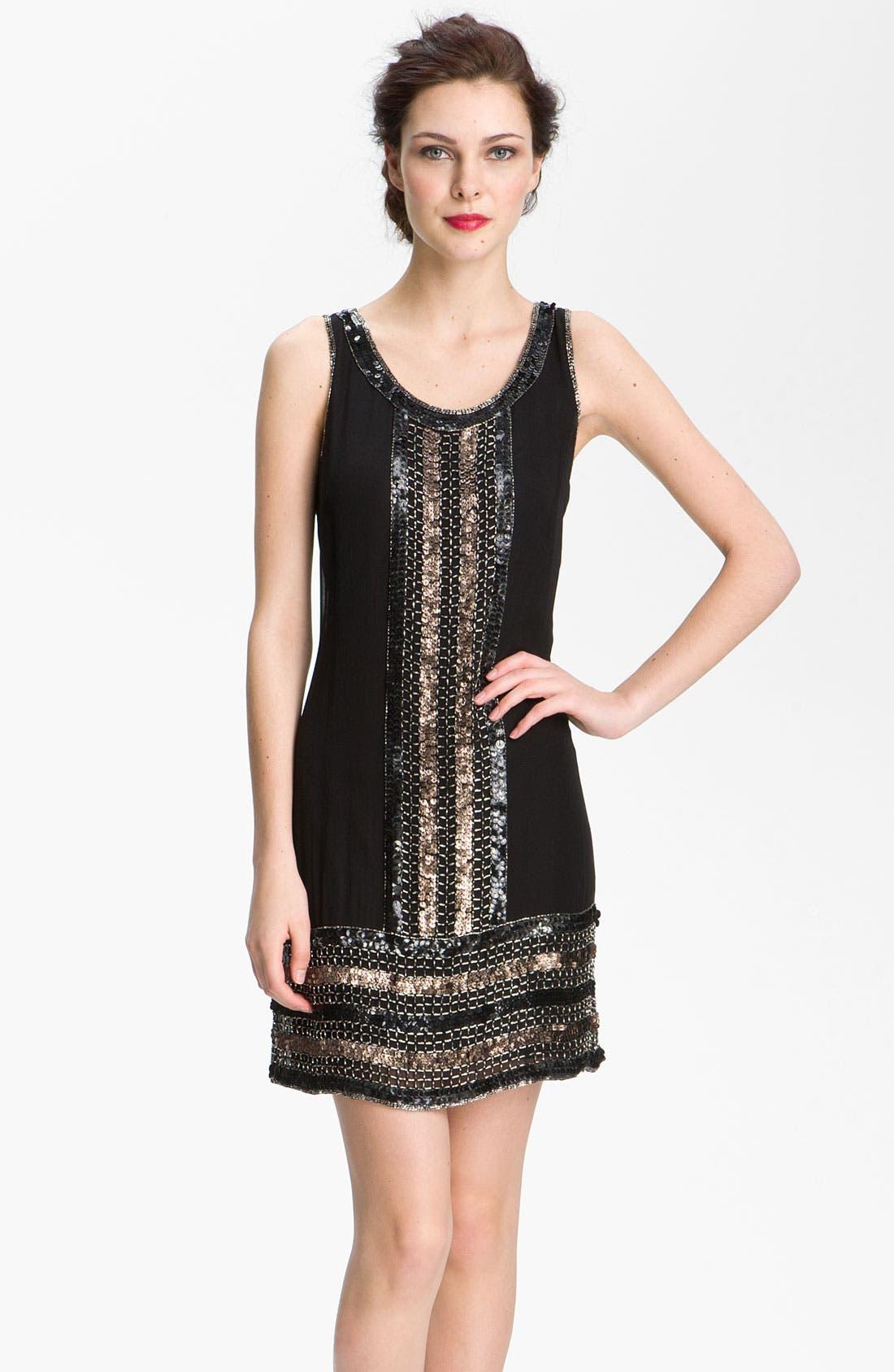 Main Image - Adrianna Papell Embellished Silk Chiffon Shift Dress (Petite)