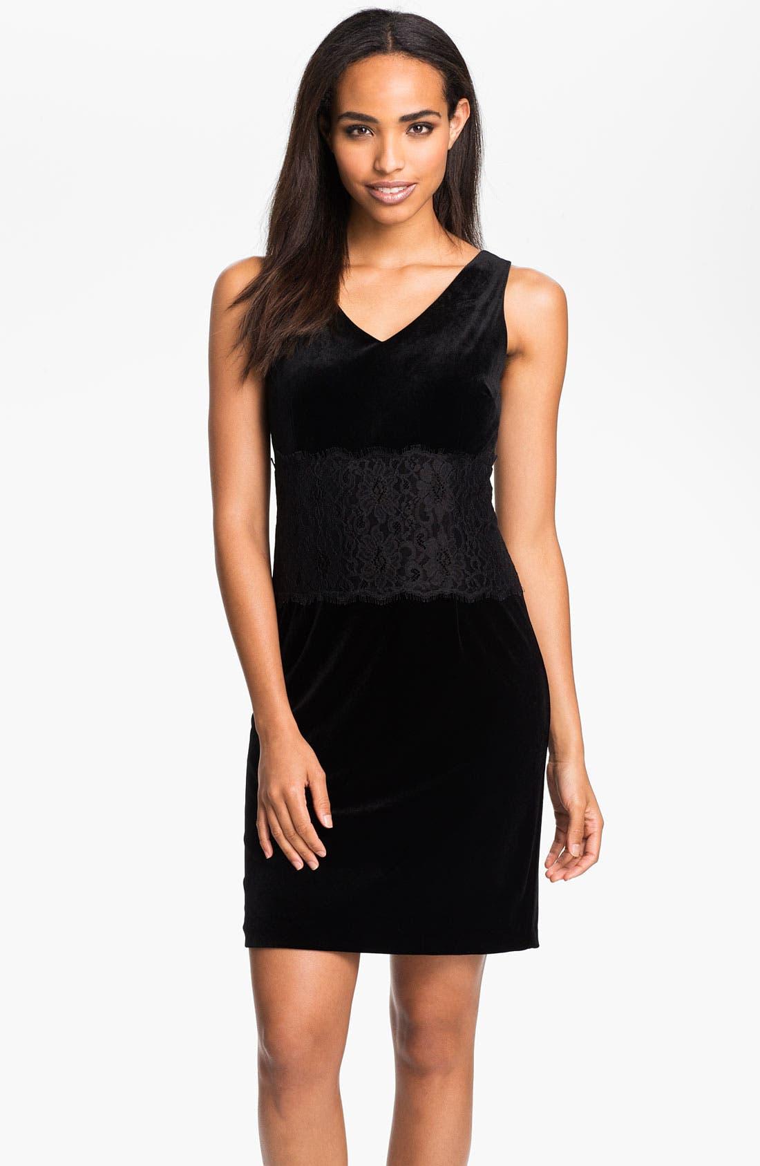 Main Image - Donna Morgan Lace Inset Velour Sheath Dress (Petite)